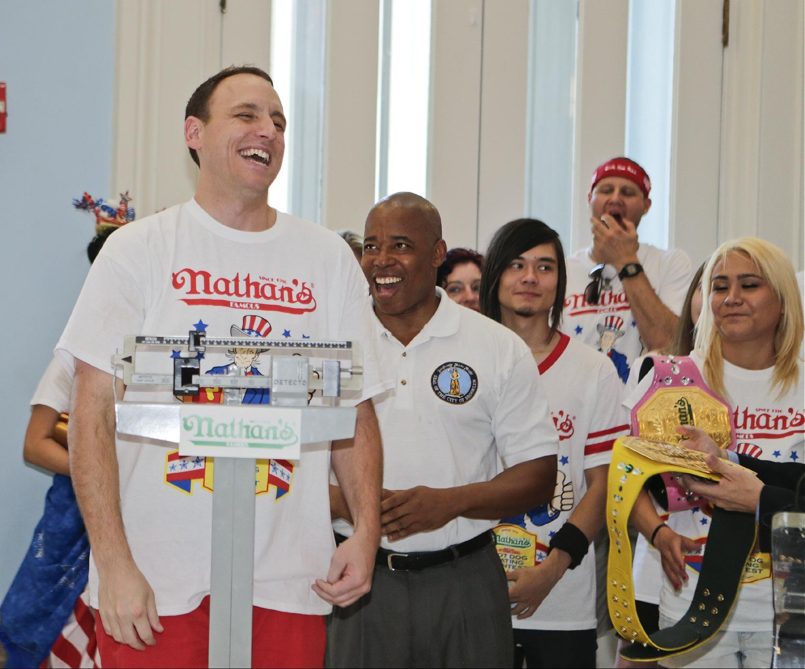 Eager eaters weigh-in ahead of NYC July 4 hot dog contest