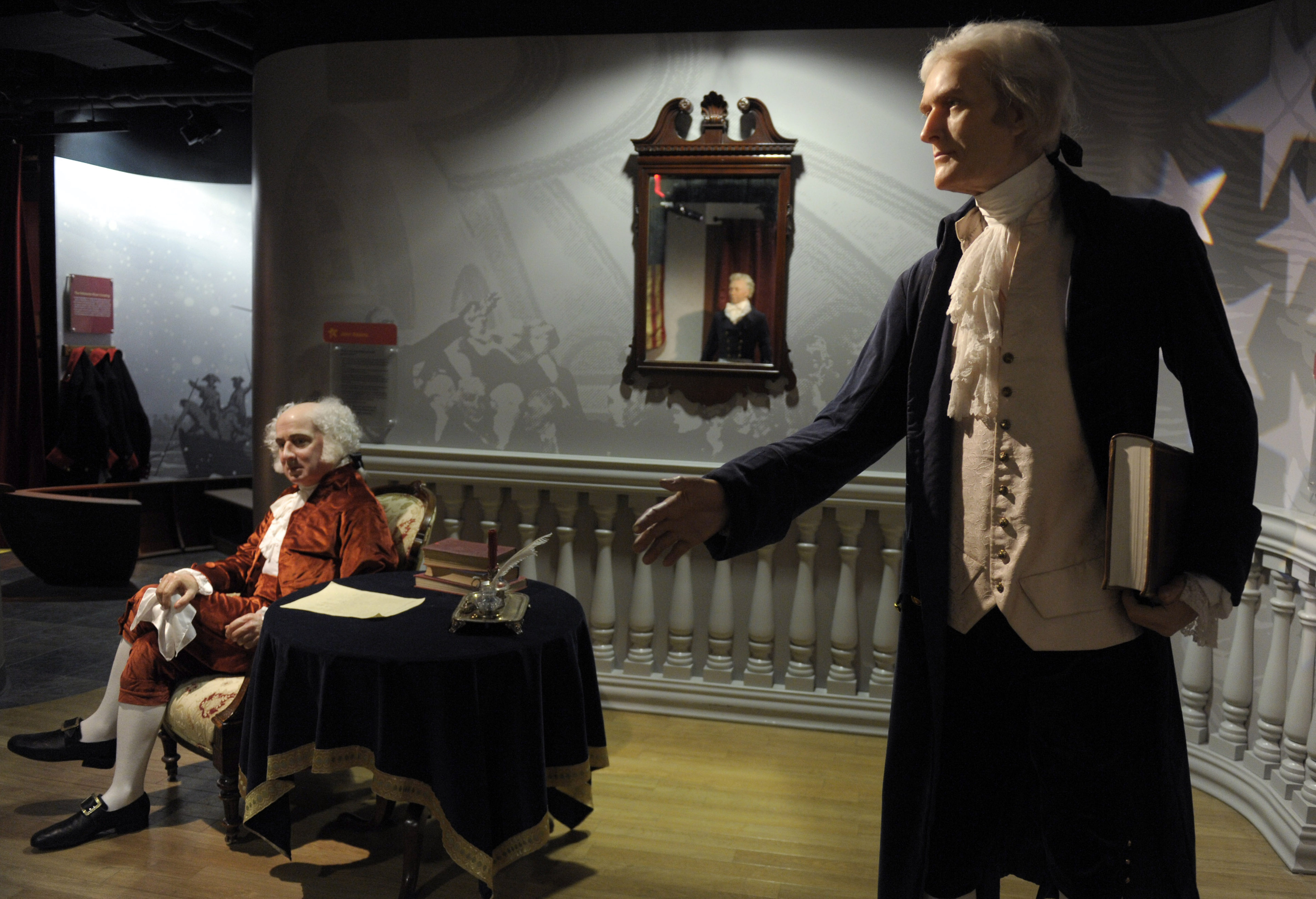 Wax figures of President John Adams (L) and President Thomas Jefferson (R) (AP Photo)