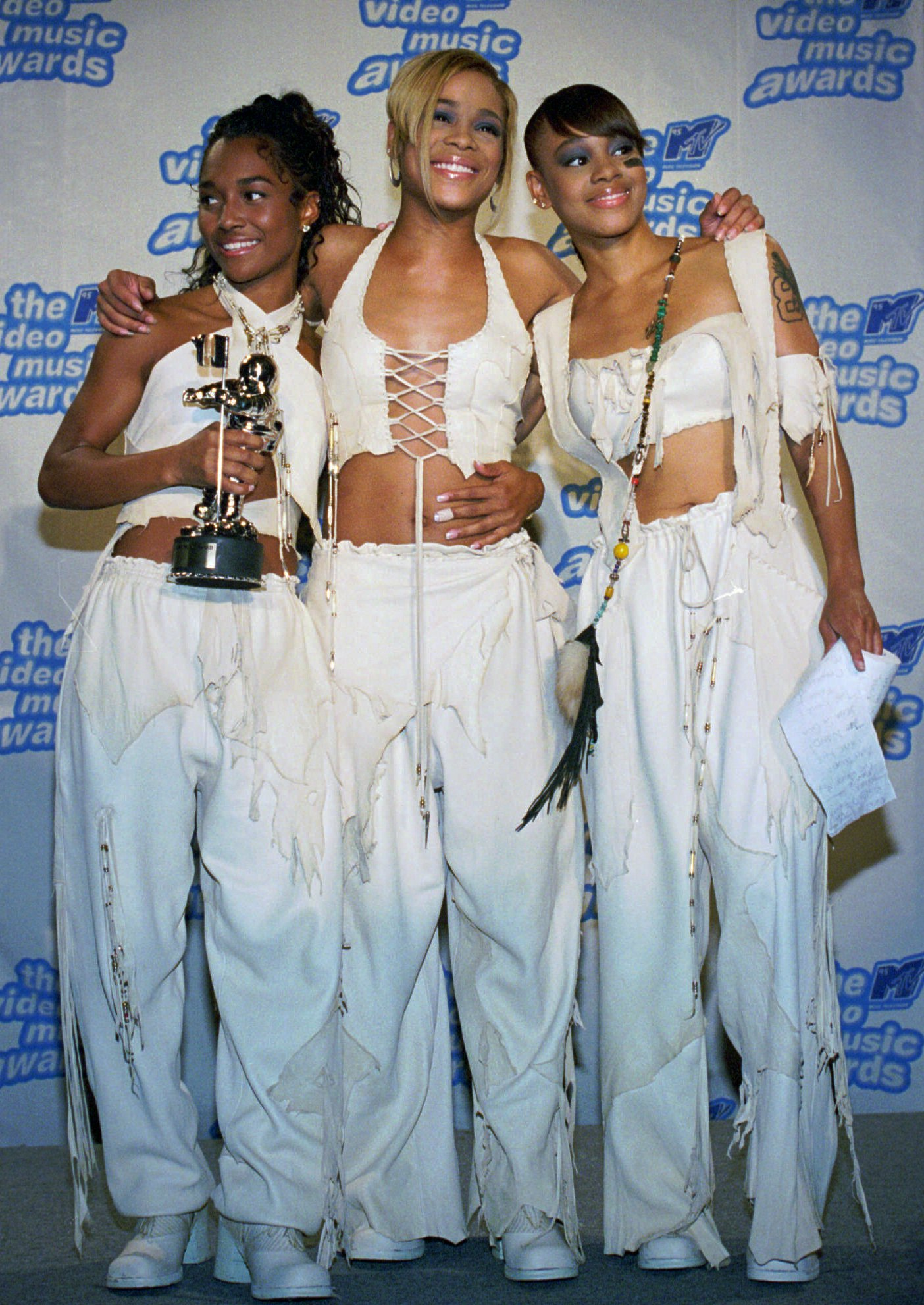 Chilli, T-Boz, and Left Eye at the 12th Annual MTV Video Music Awards on Sept. 7, 1995. (AP Photo/Paul Hurschmann, File)