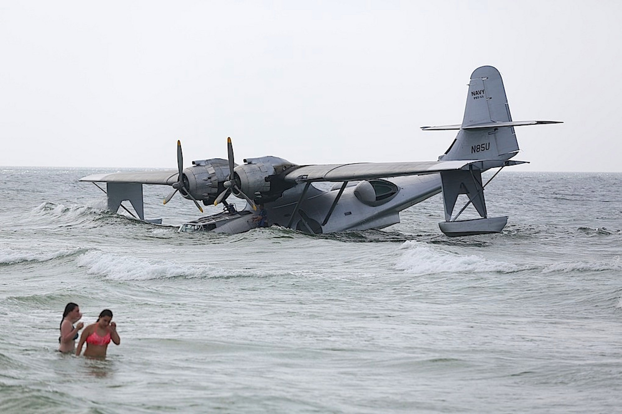 Crews filming on WWII seaplane stranded on Gulf Coast