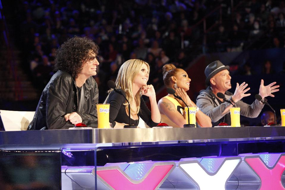 'America's Got Talent' Season 8 judges during auditions in New Orleans. (AP Photo/NBC, Skip Bolen)