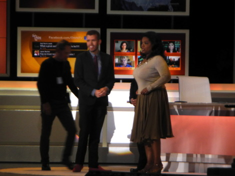 "Perez Hilton and Oprah Winfrey on ""Oprah's Lifeclass."""