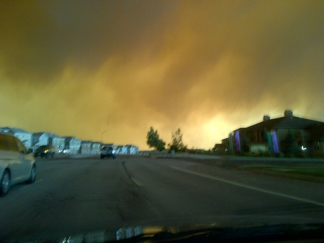 Driving towards the Waldo Canyon fire in Colorado Springs, Colo., at approximately 5:45 p.m. on June 26, 2012. This was taken from Voyage Parkway.