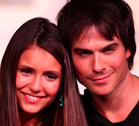"Nina Dobrev and Ian Somerhalder are two peas in vampire pod in ""The Vampire Diaries."""
