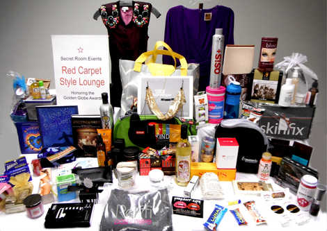 Some of the swag given to Hollywood stars at the Secret Room Events Red Carpet Style Lounge during Golden Globes weekend 2013.