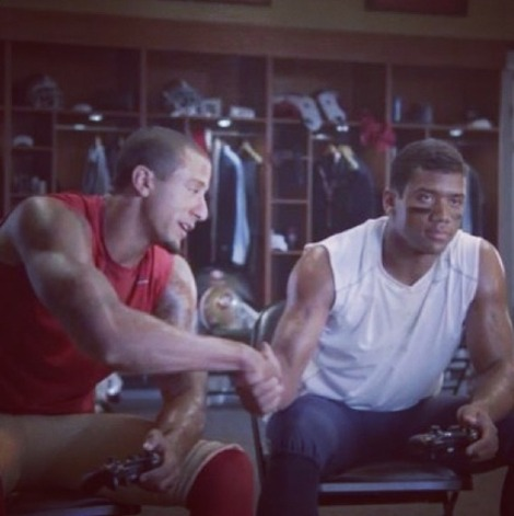 Colin Kaepernick and Russell Wilson have an eyebrow bet on Sunday's game. (EA Sports)