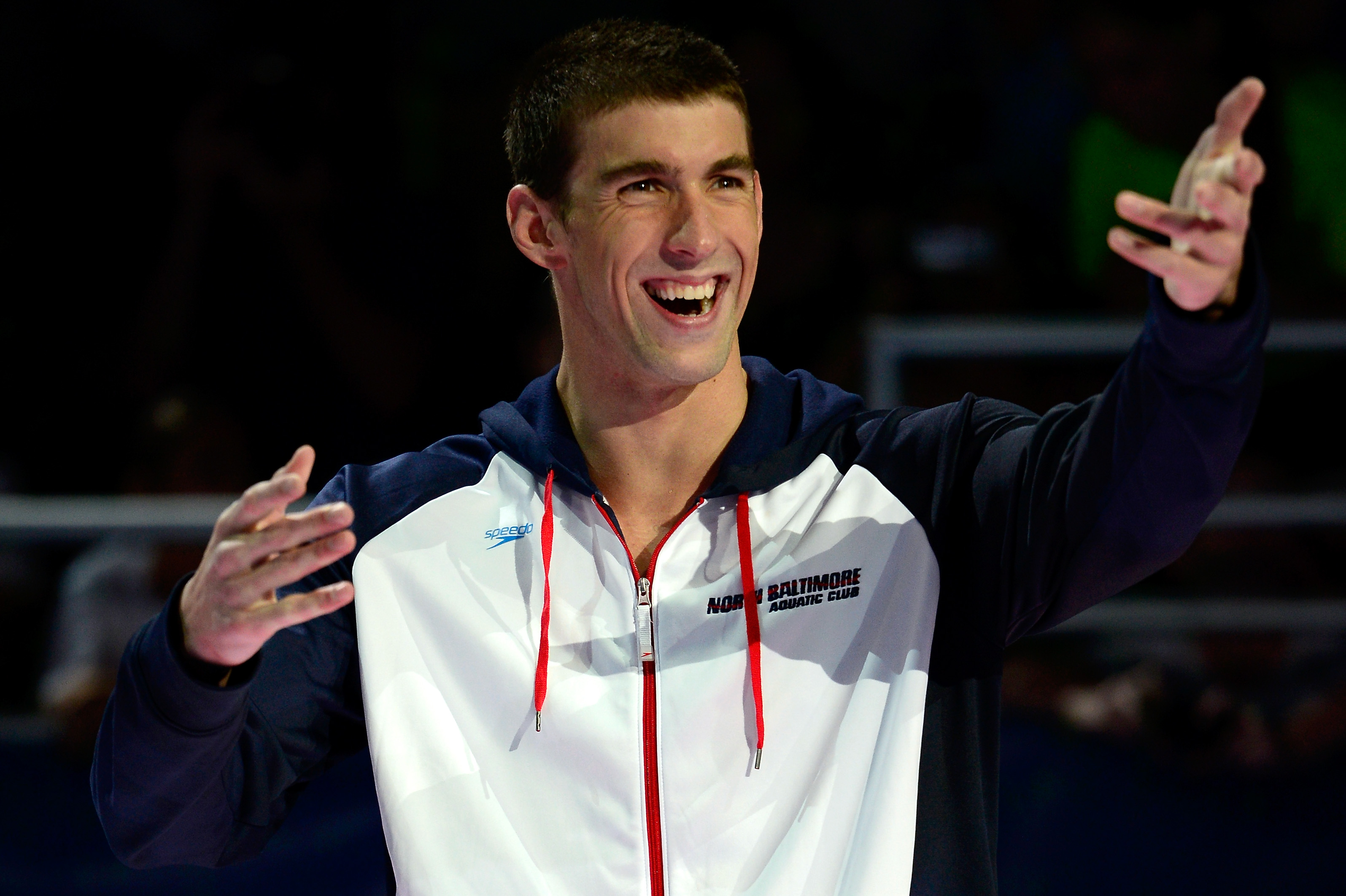 Michael Phelps celebrates winning 200m butterfly. (Getty Images)