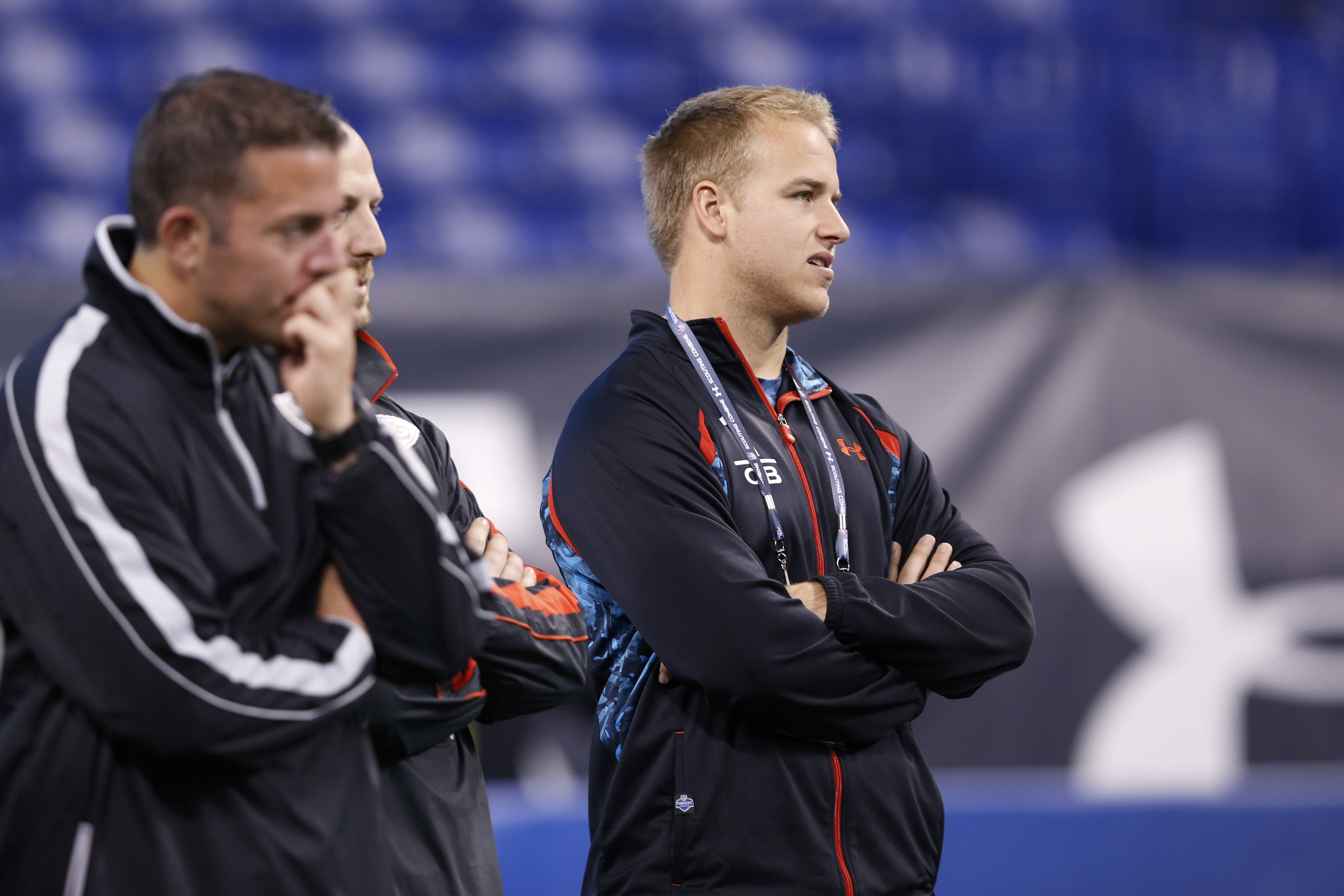 Matt Barkley watches the workouts during the NFL scouting combine. (Getty)