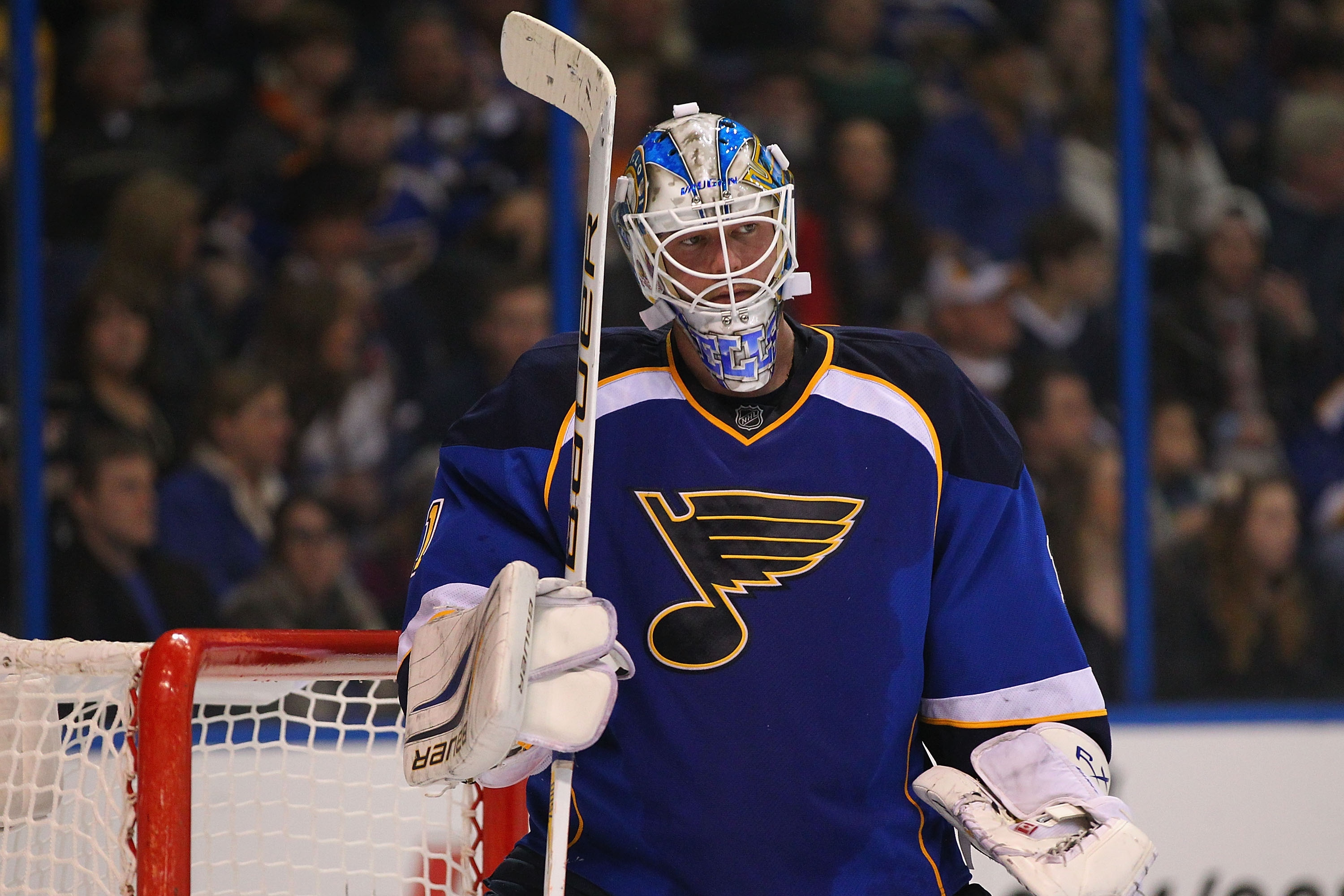 Blues goalie Brian Elliott has floundered after a breakout year last season. (Getty)