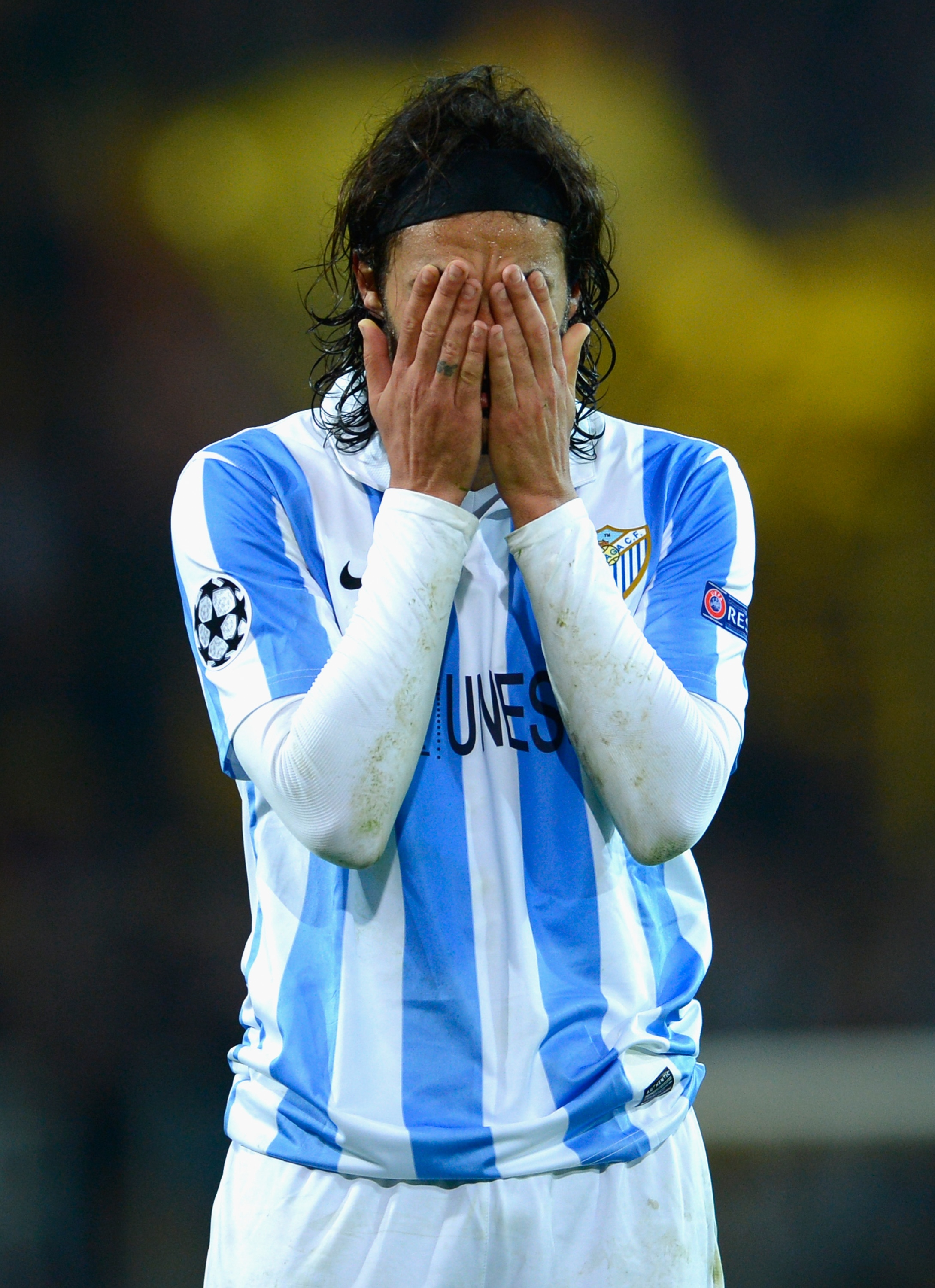 Sergio Sanchez of Malaga after defeat in the Champions League quarterfinal. (Getty Images)