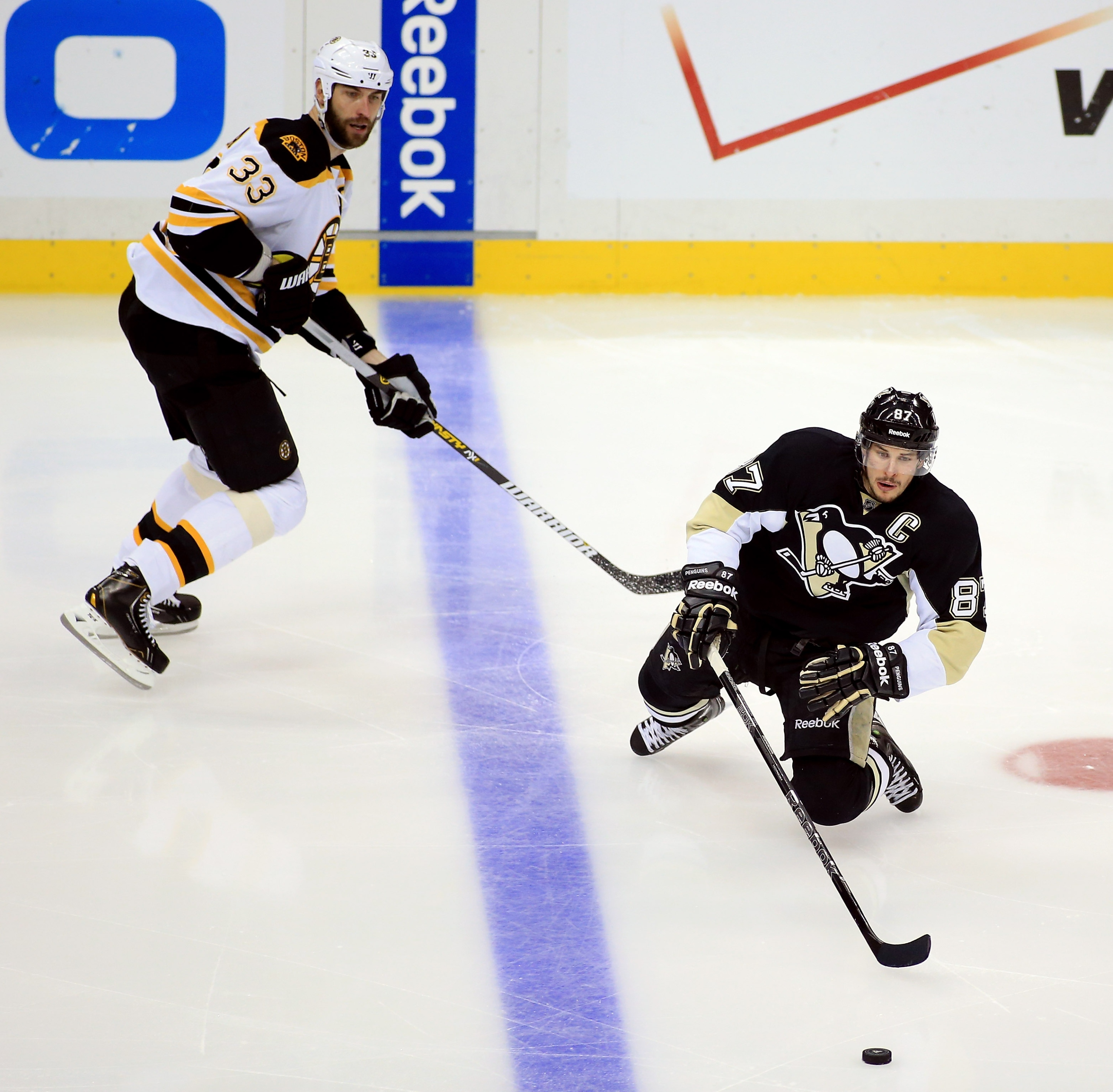 Sidney Crosby and the Penguins got knocked down early and never recovered in Game 2. (Getty)