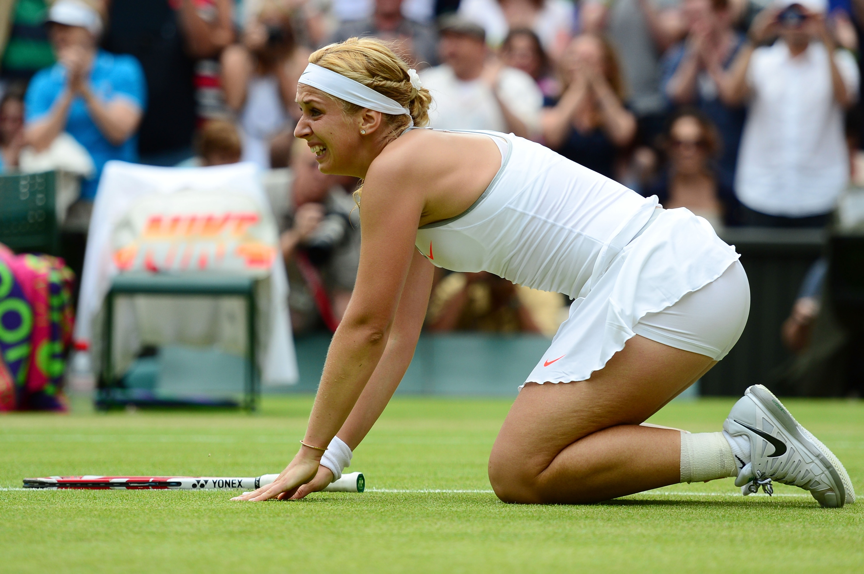 Sabine Lisicki celebrates her win over Serena Williams. (Getty Images)