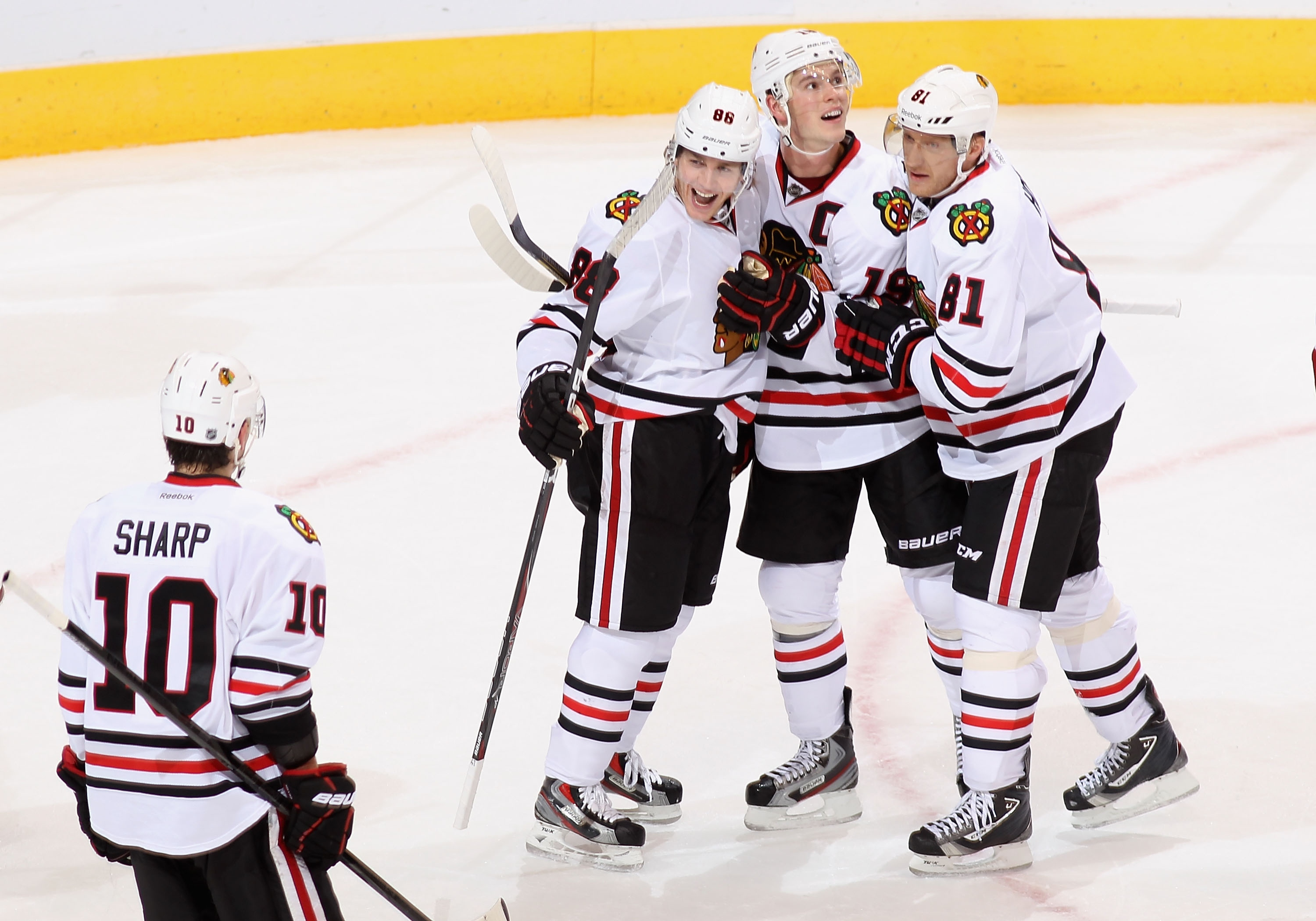 The Blackhawks have had a good time on the road this season. (Getty)