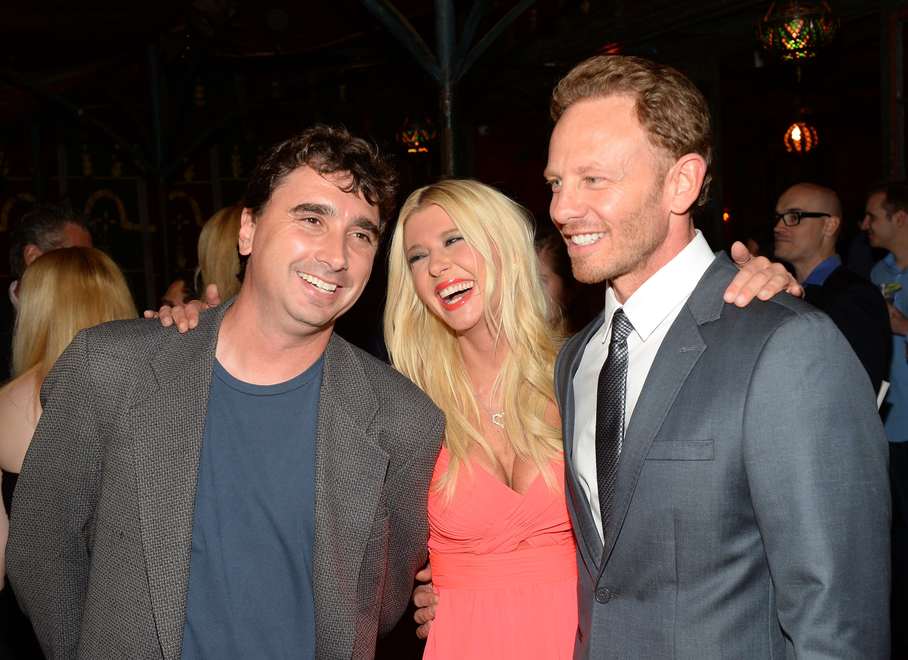"Anthony C. Ferrante, Tara Reid, and actor Ian Ziering at the ""Sharknado"" midnight screening pre-party on August 2, 2013 in Los Angeles, California. (Photo by Mark Davis/Getty Images)"