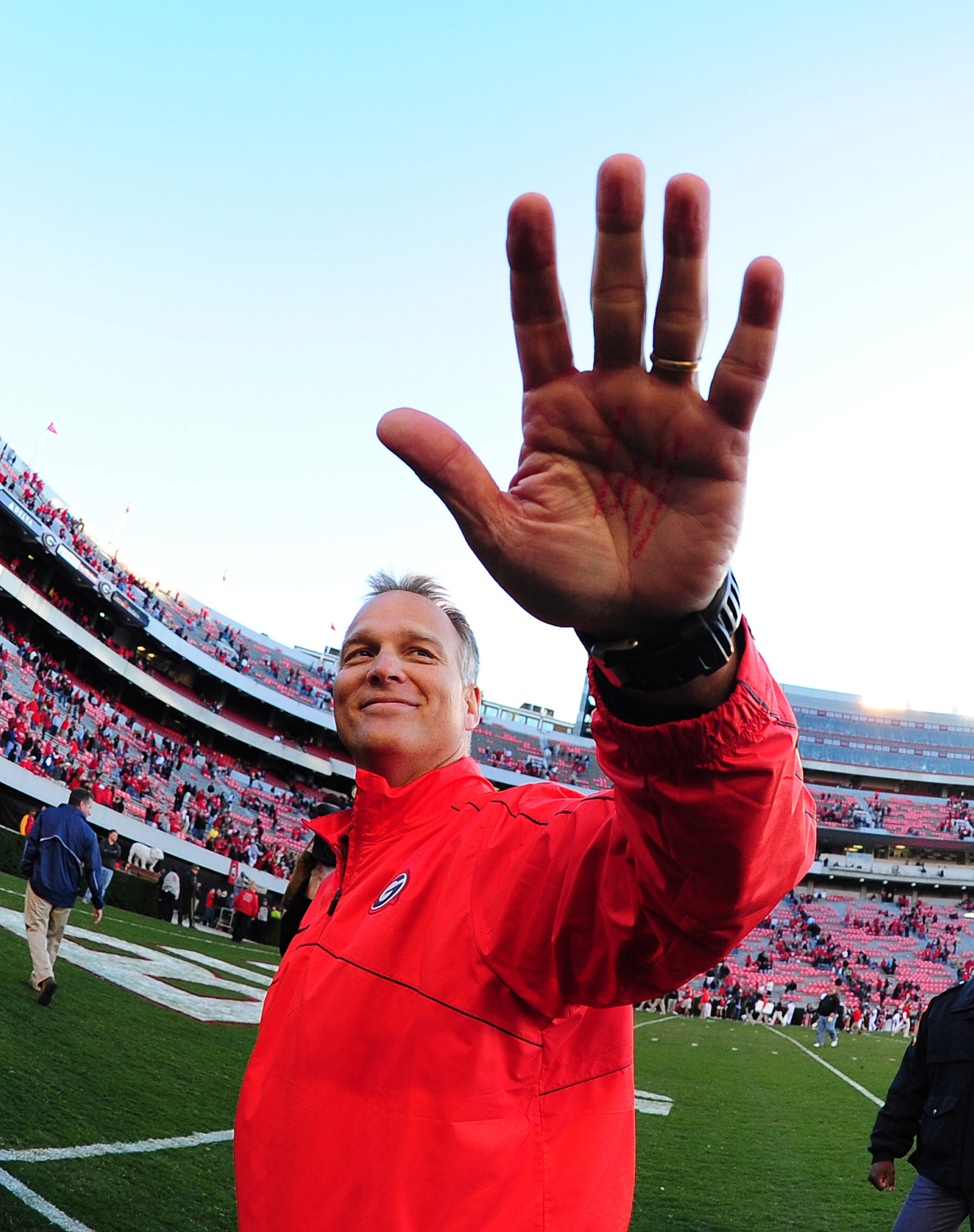 Georgia's Mark Richt is a win away from playing Notre Dame for the national championship in Miami. (Getty Images)
