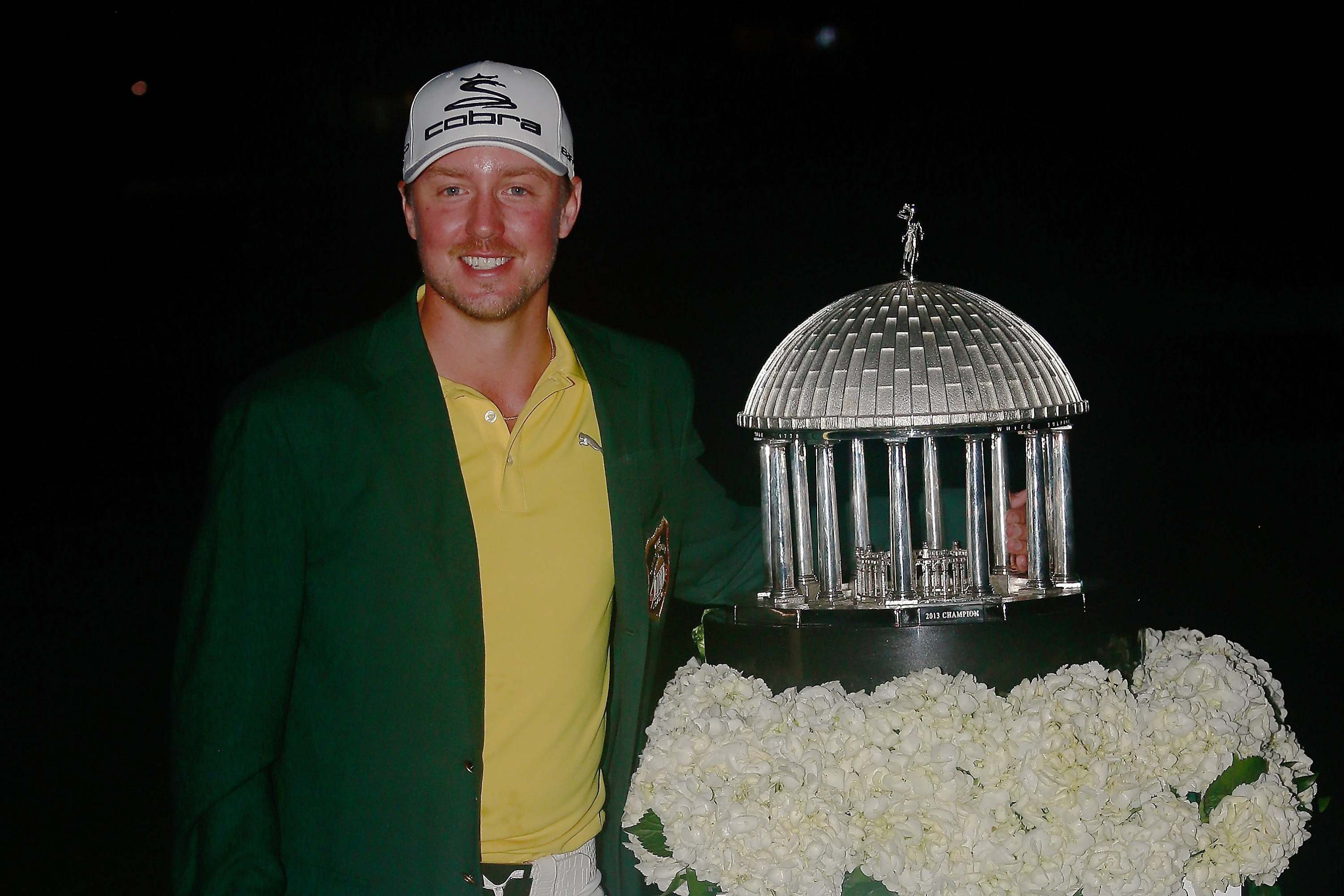 Jonas Blixt of Sweden poses with the trophy following his victory in the Greenbrier Classic. (Getty)