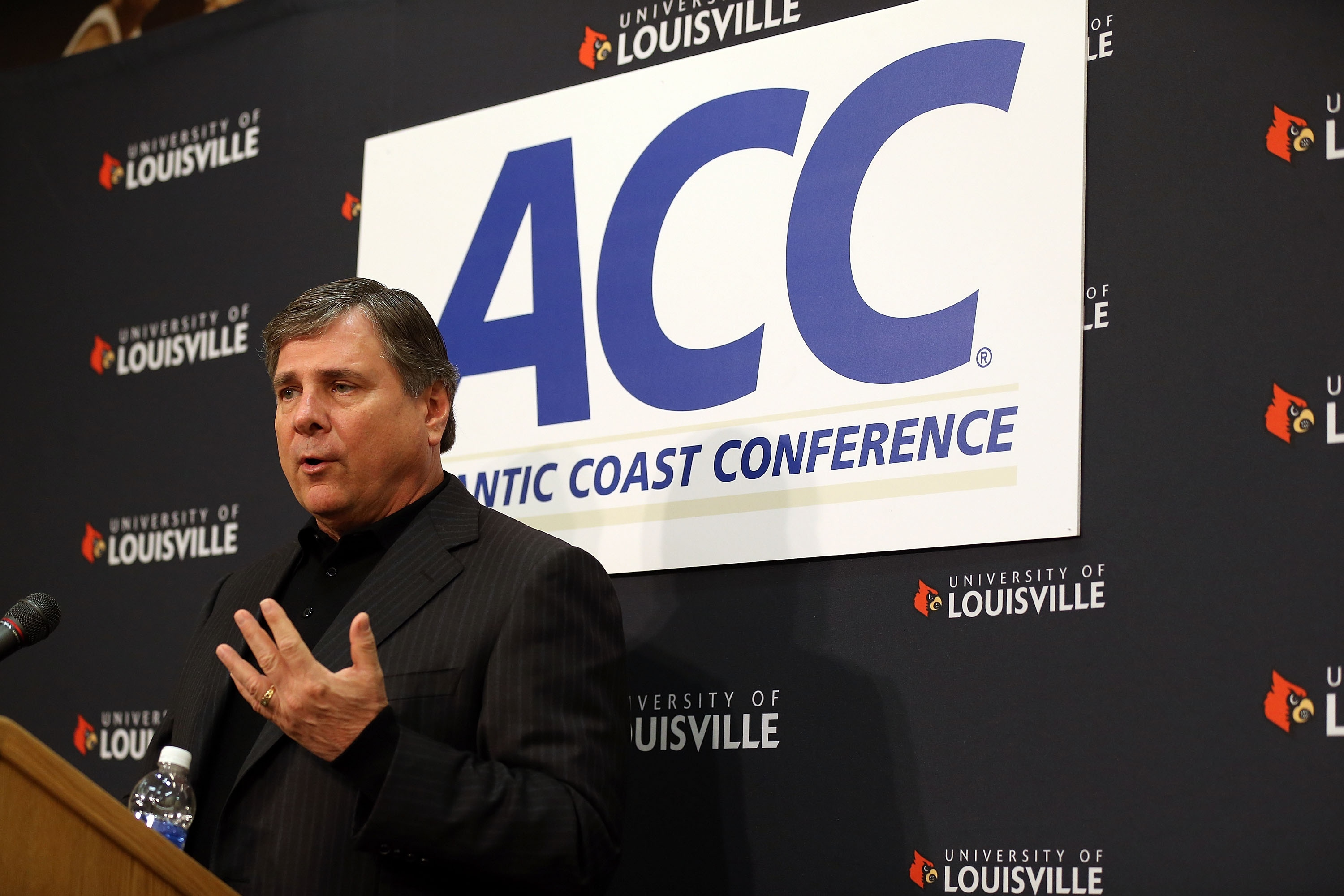Sources say Louisville AD Tom Jurich is committed to guiding the Cardinals into the ACC. (Getty Images)