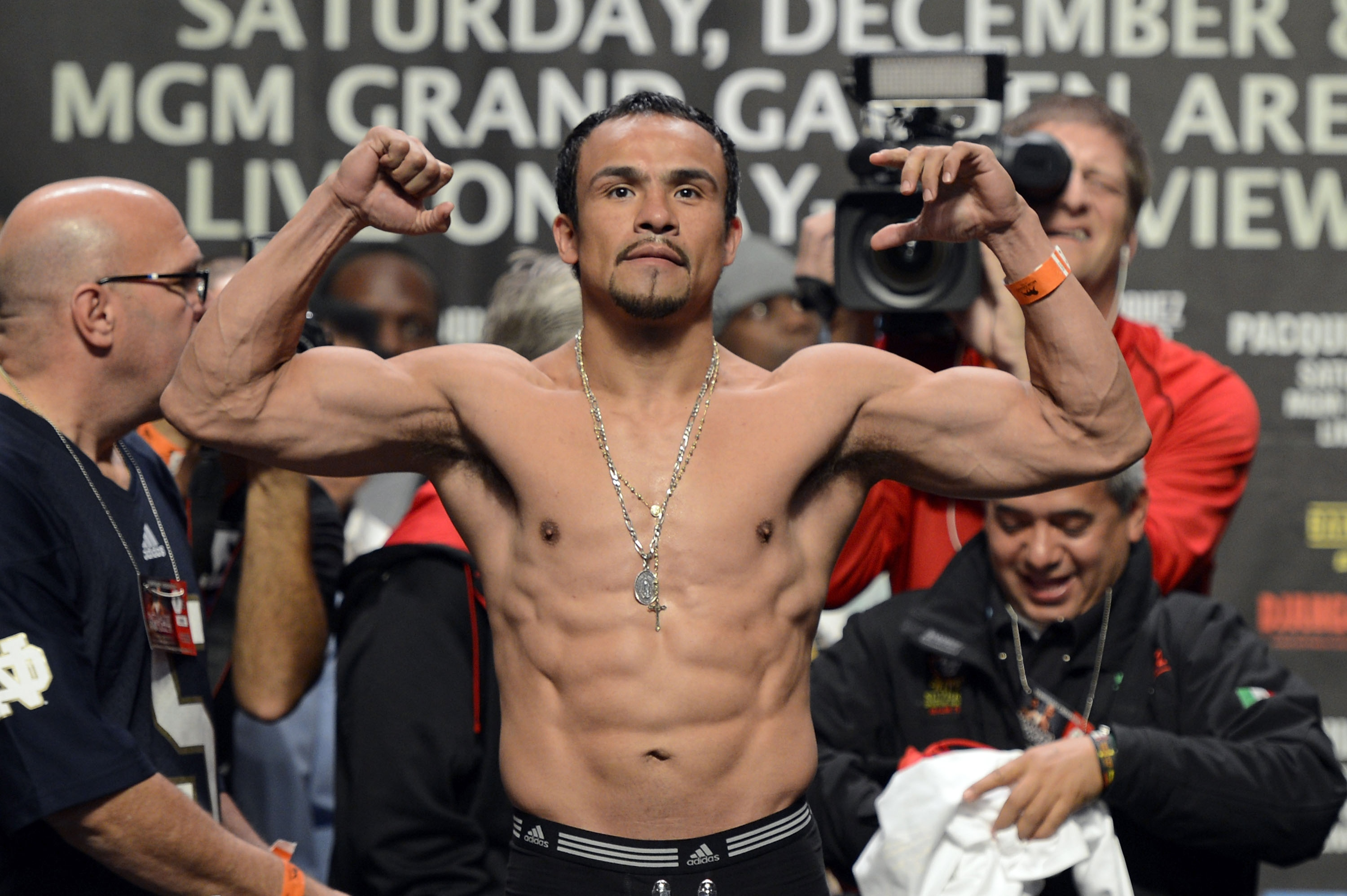 Juan Manuel Marquez poses during the official weigh-in for his fight against Manny Pacquiao. (Getty)