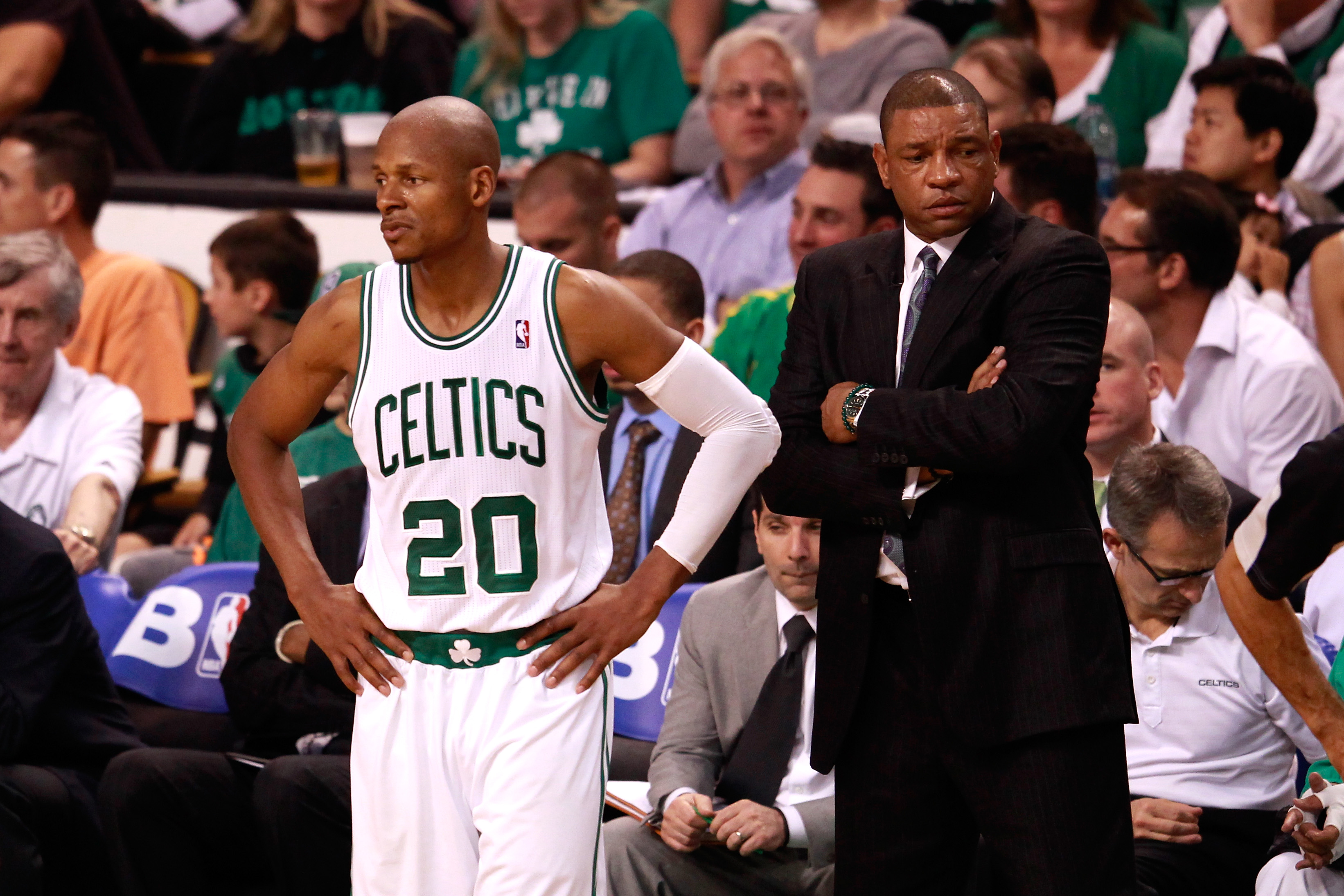 Celtics coach Doc Rivers had hoped Ray Allen would join Kevin Garnett in re-signing. (Getty Images)