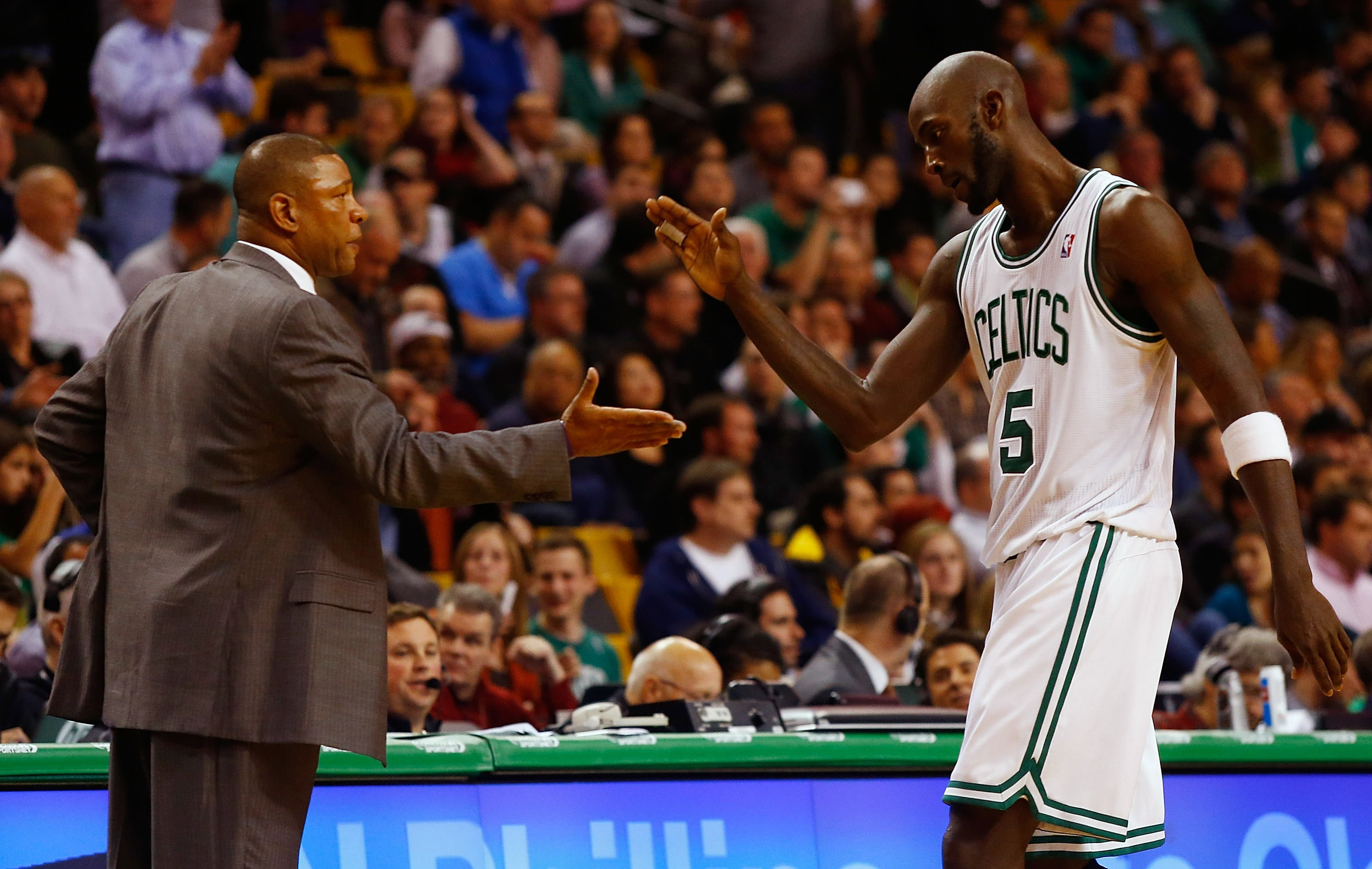Doc Rivers and Kevin Garnett could soon be headed to Los Angeles. (Getty Images)