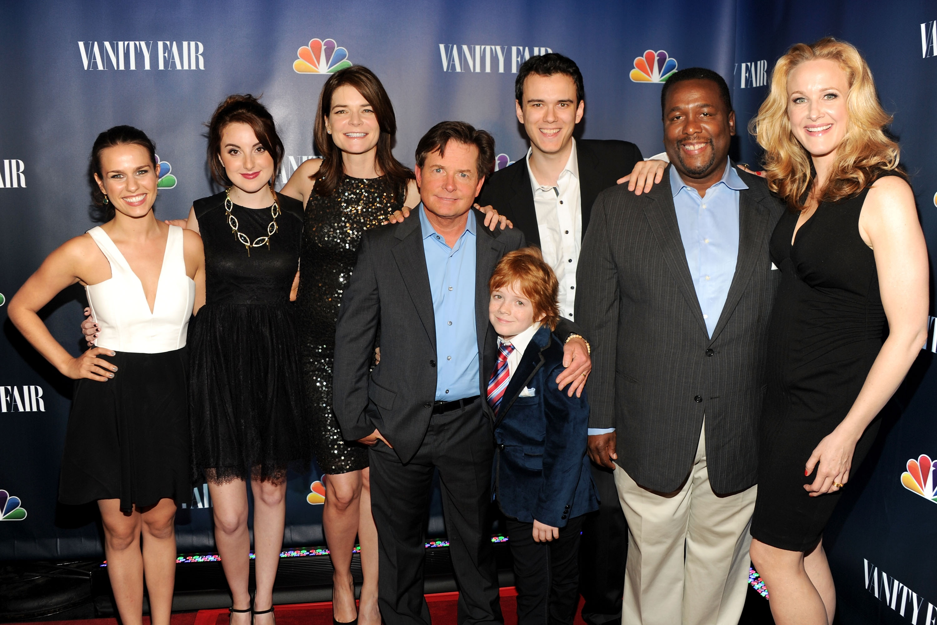 Ana Nogueira, Juliette Goglia, Michael J. Fox, Jack Gore, Conor Romero, Wendell Pierce, and Katie Finneran attend NBC's 2013 Fall Launch Party on September 16, 2013 in New York City.
