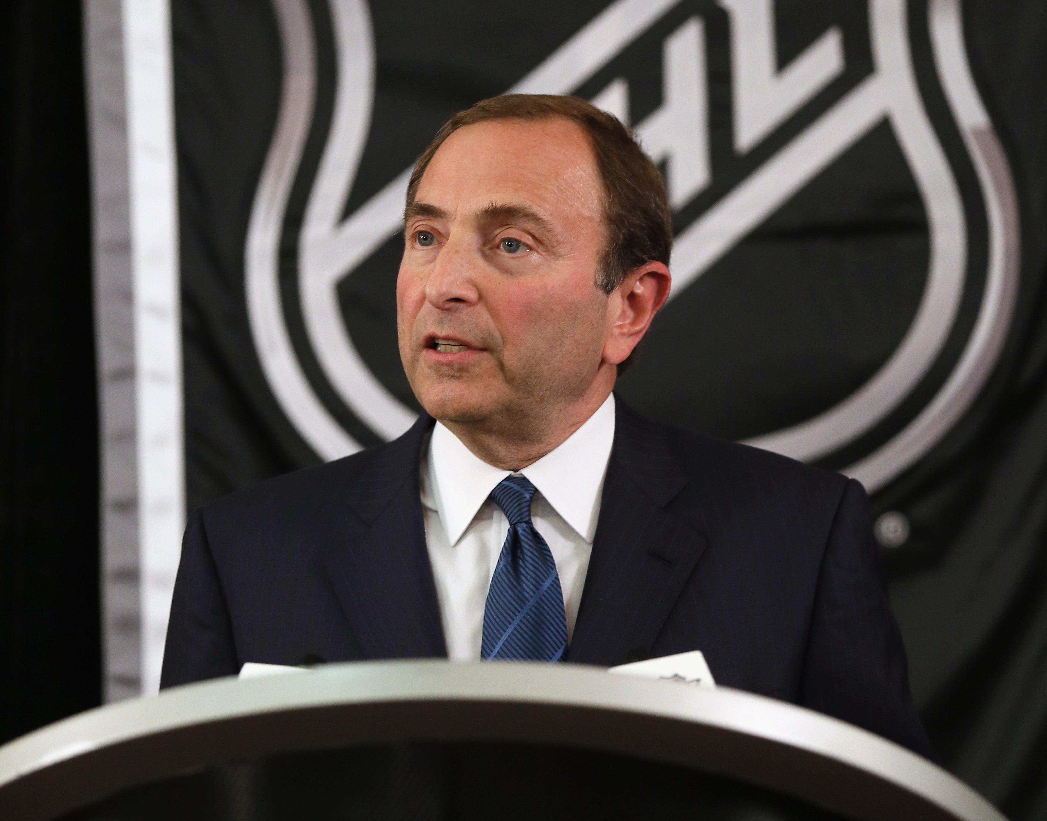 Gary Bettman addresses the media in New York City. (Getty Images)
