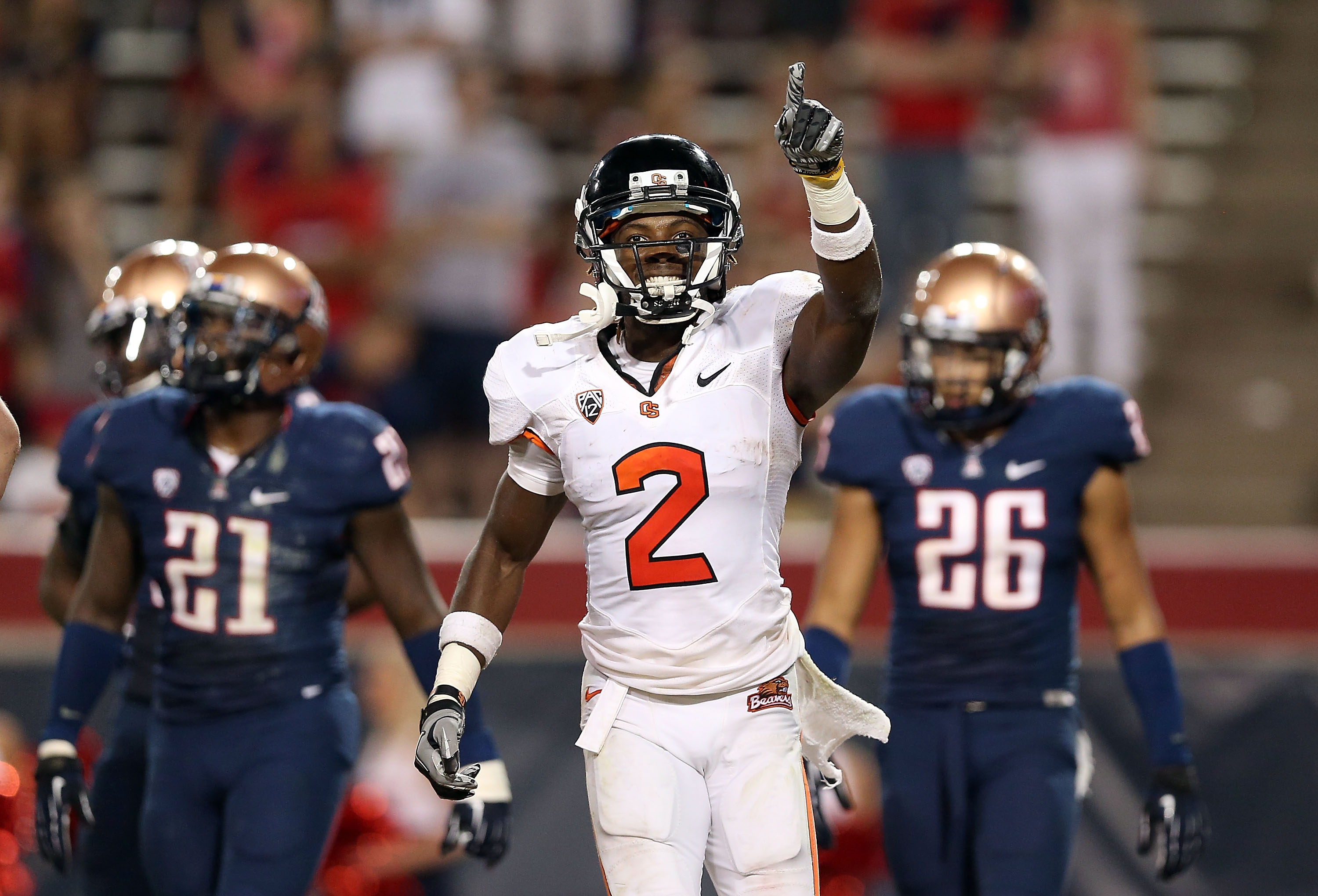 In three games, Oregon State's Markus Wheaton has 27 catches and three touchdowns. (Getty Images)
