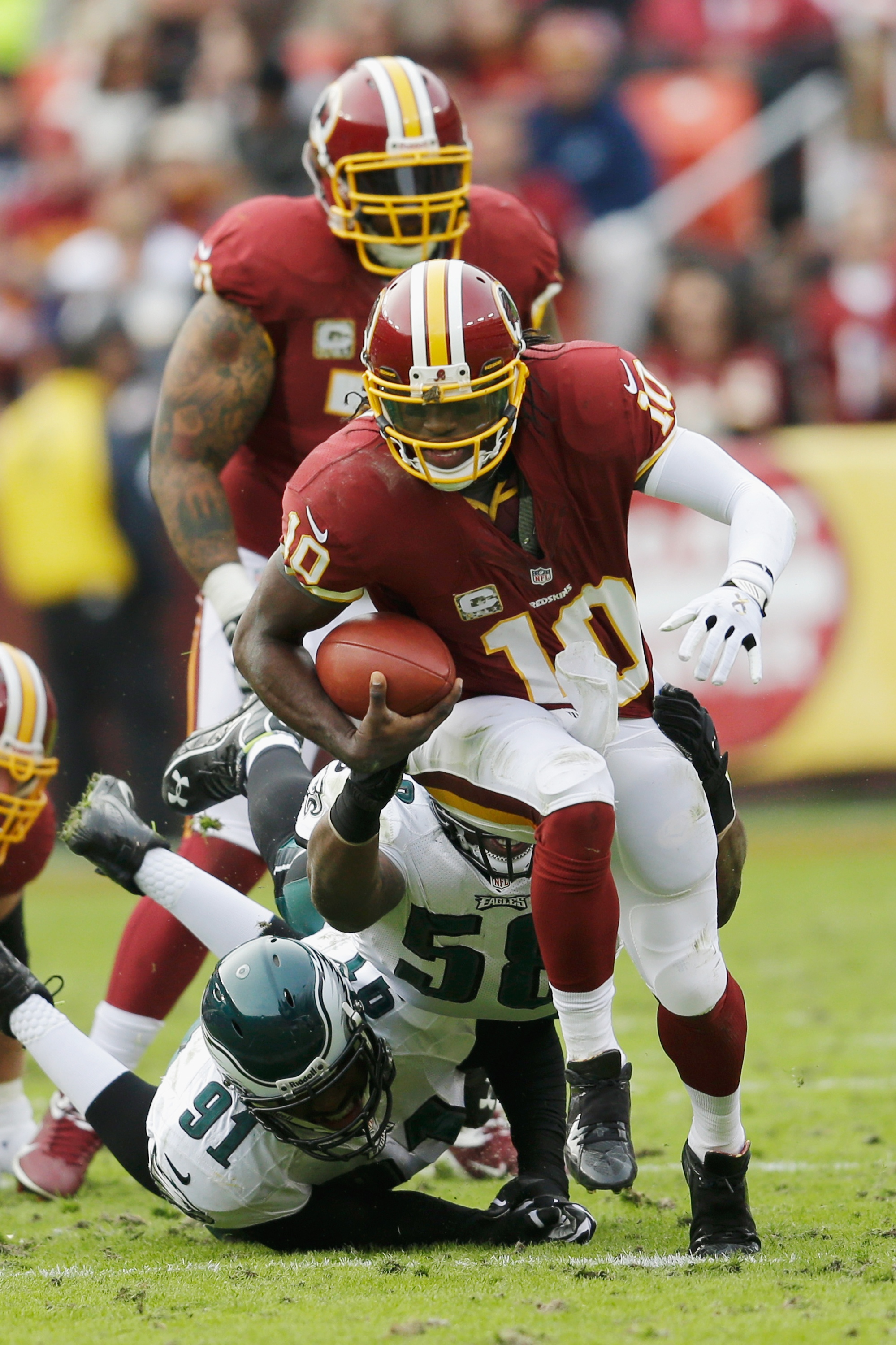 Robert Griffin III had one of the all-time greatest QB performances on Sunday. (Getty)