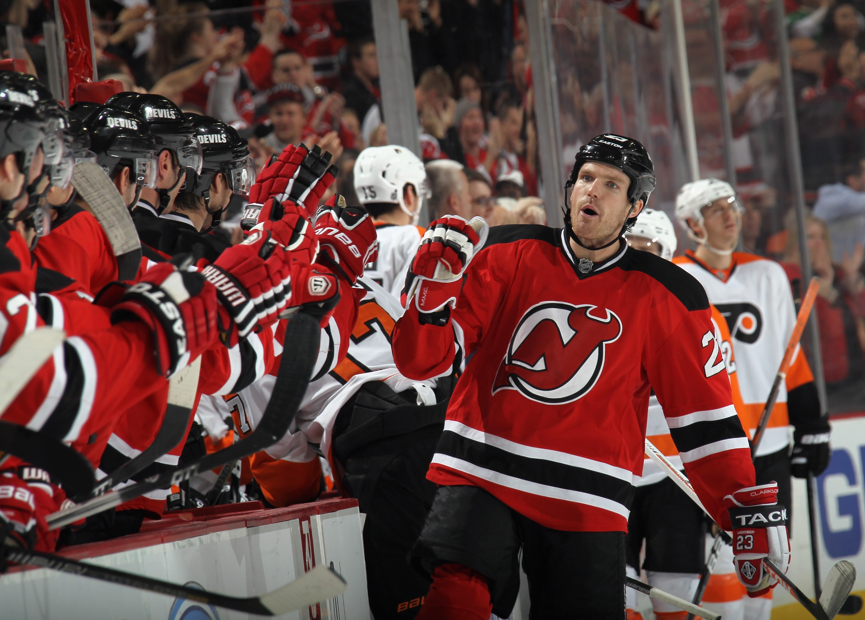David Clarkson was making the most of his chance to play on one of the Devils' scoring lines. (Getty)