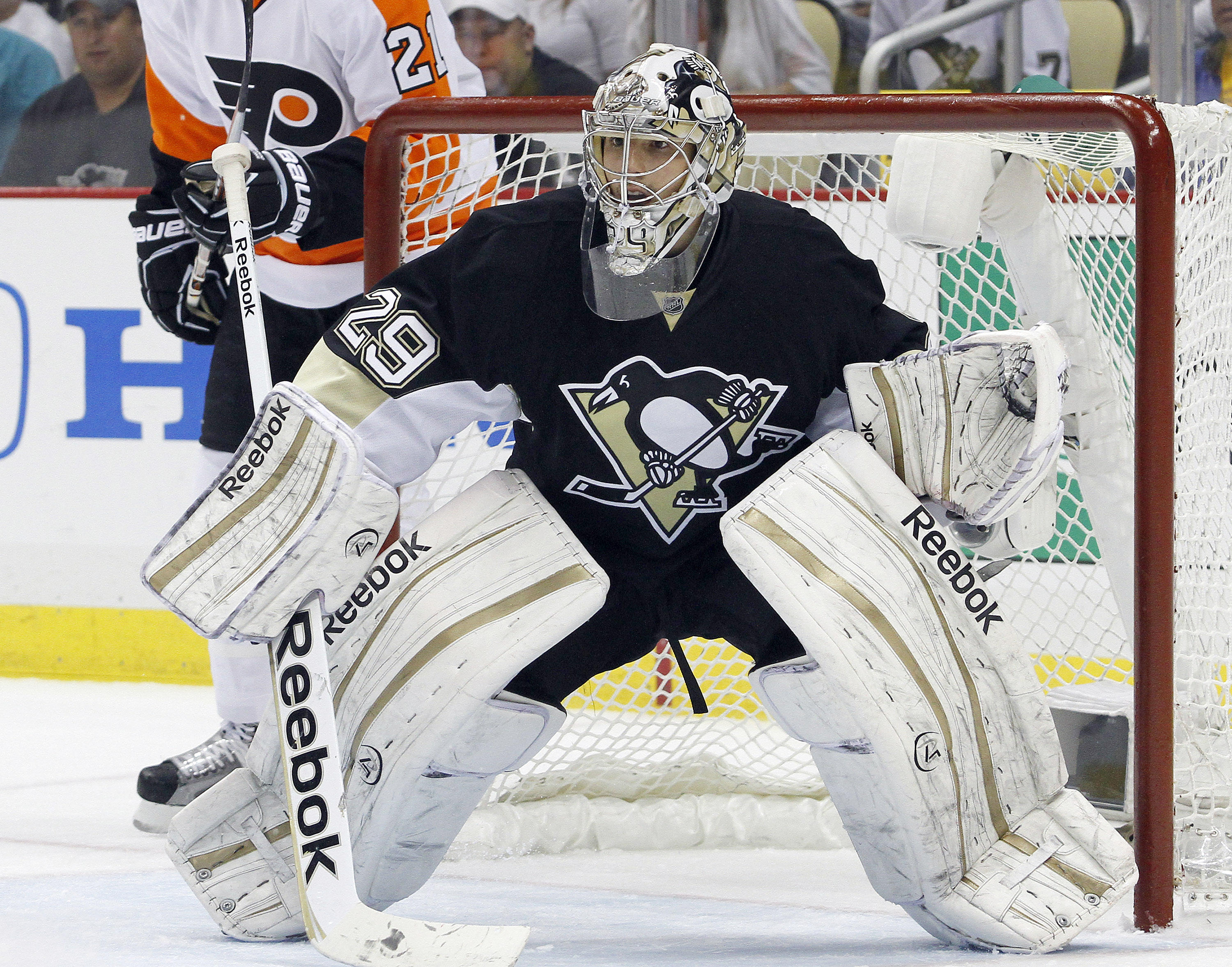 Marc-Andre Fleury made 14 saves in the third period of Game 5. (Getty Images)