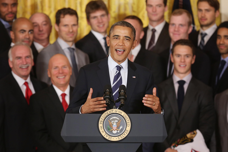 President Obama Welcomes NHL Champion Chicago Blackhawks To The White House