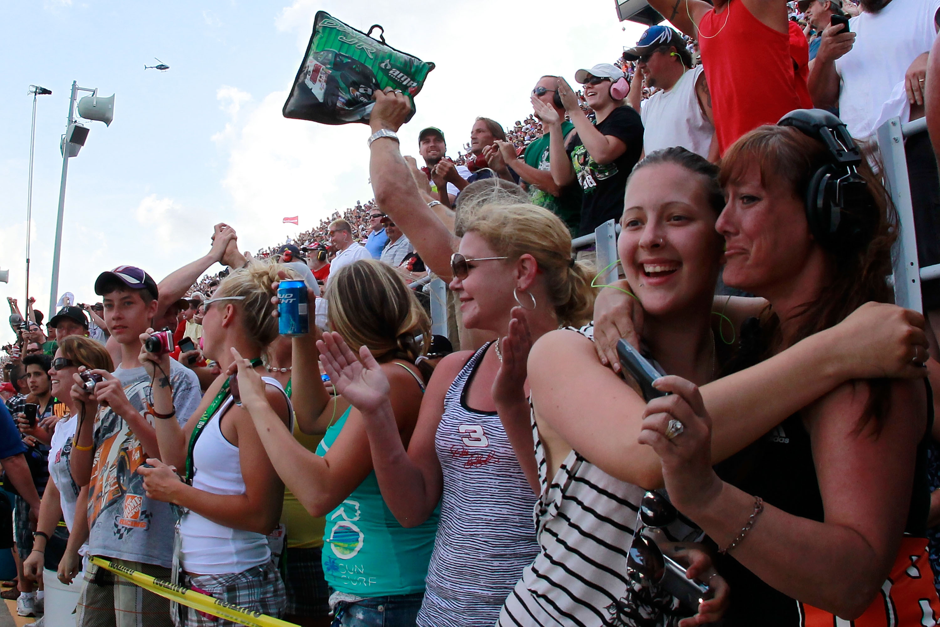 Fans celebrate Dale Earnhardt Jr.'s first victory since 2008. (Getty Images)