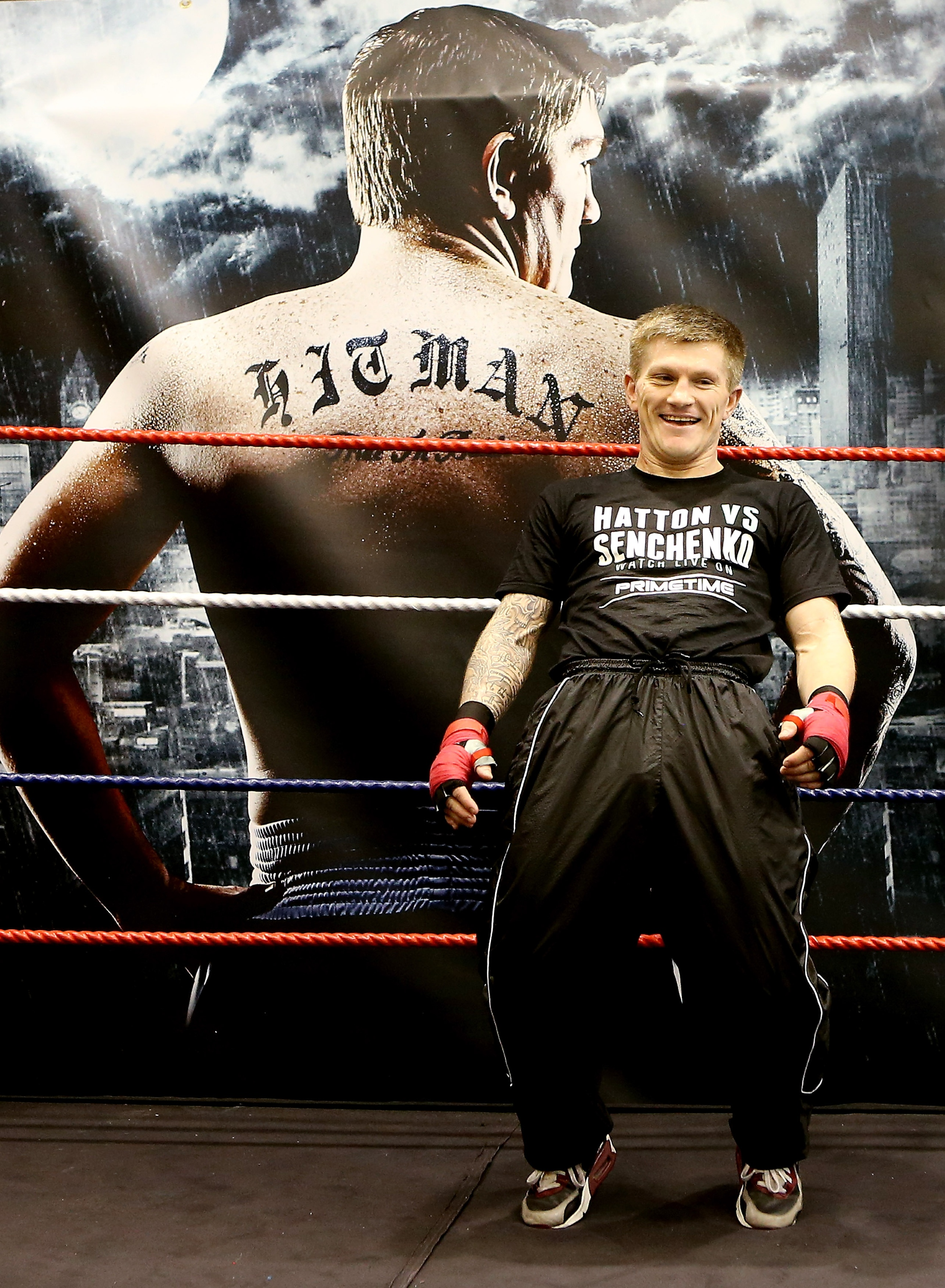 Ricky Hatton laughs during a workout in front of media in Manchester, England. (Getty)