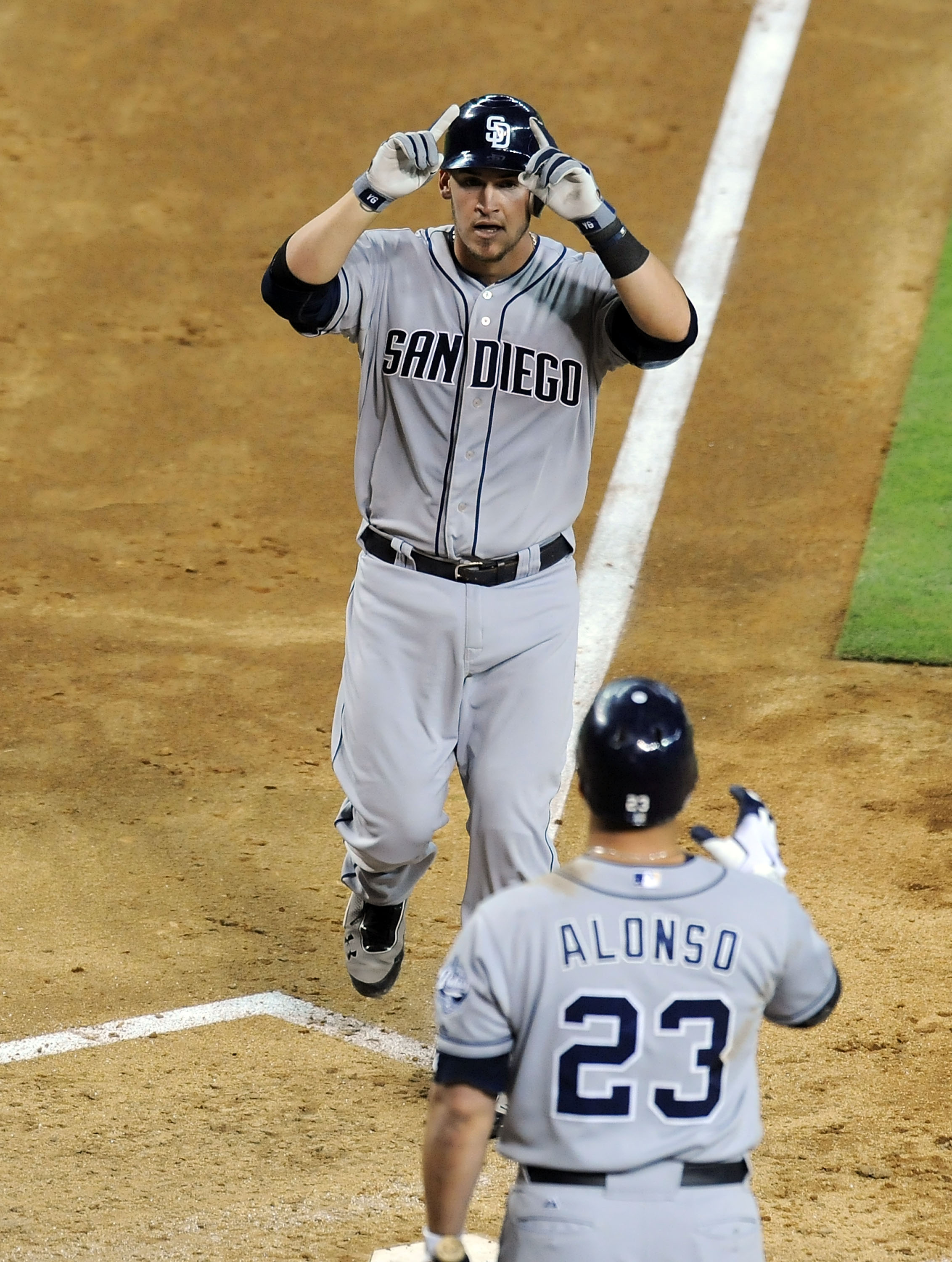 Yasmani Grandal celebrates his homer in the Padres' win over Arizona. (Getty Images)