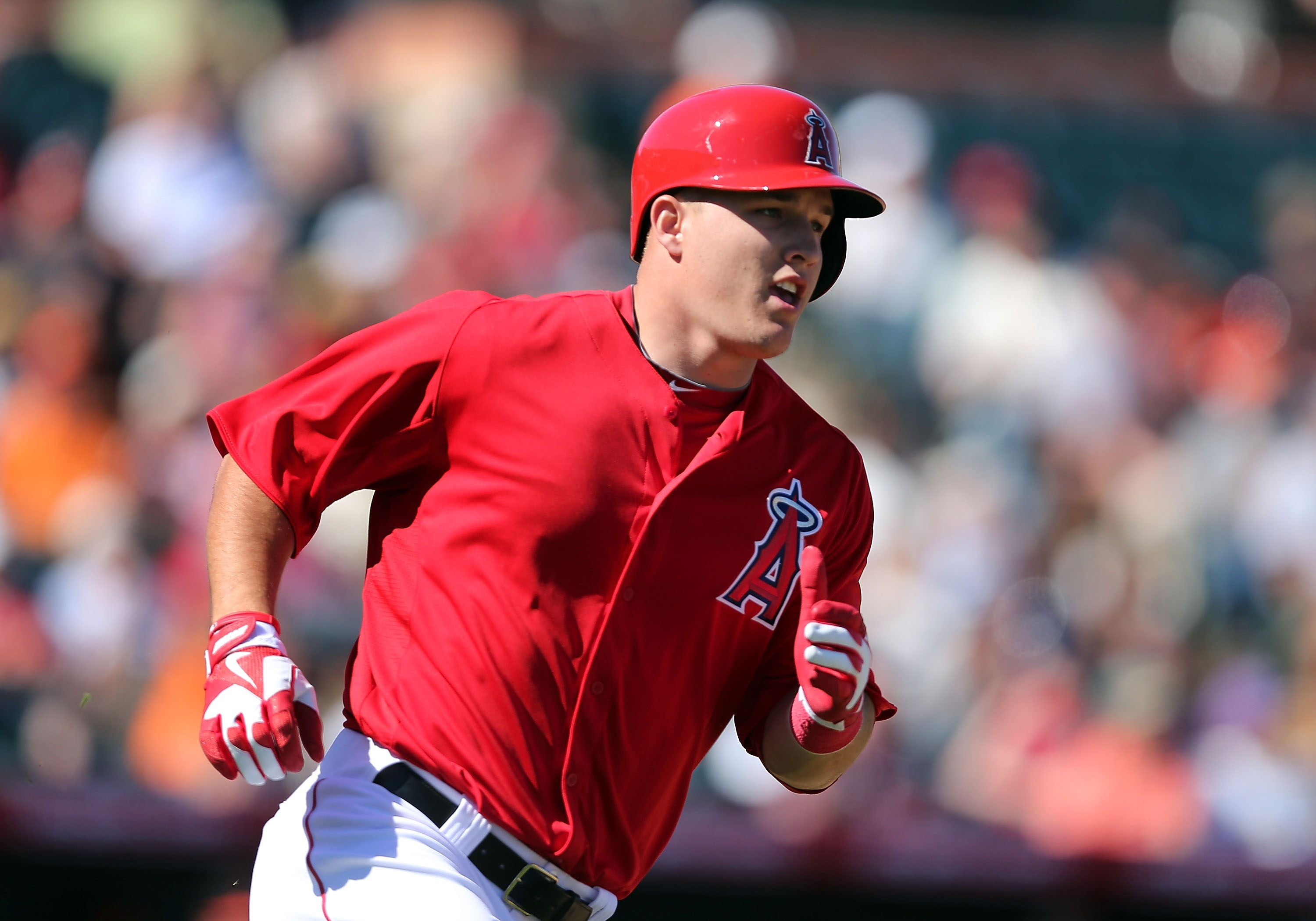 Mike Trout hit .326 last season with 30 home runs and 49 stolen bases. (Getty Images)