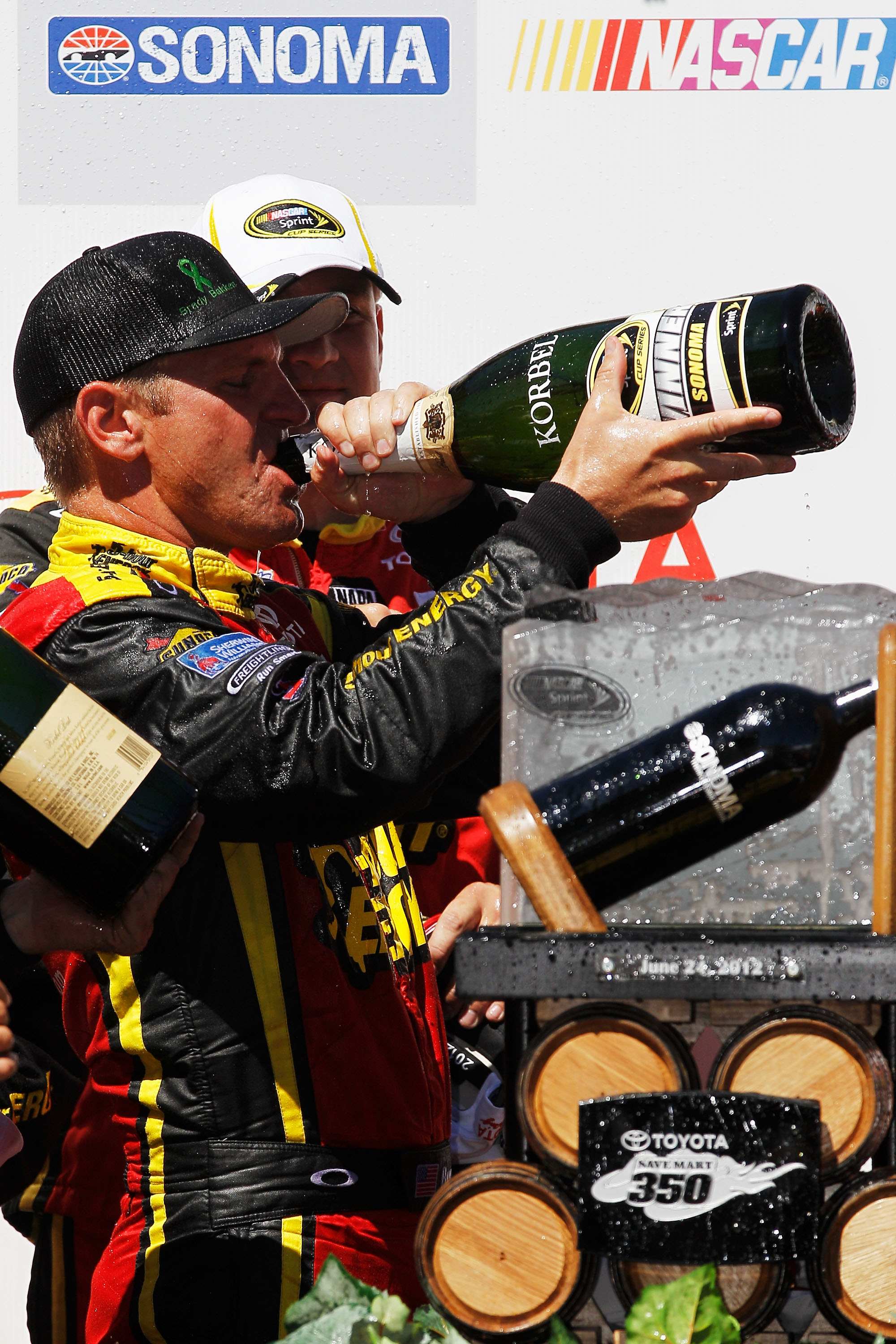 Clint Bowyer celebrates after winning at Sonoma. (Getty Images)