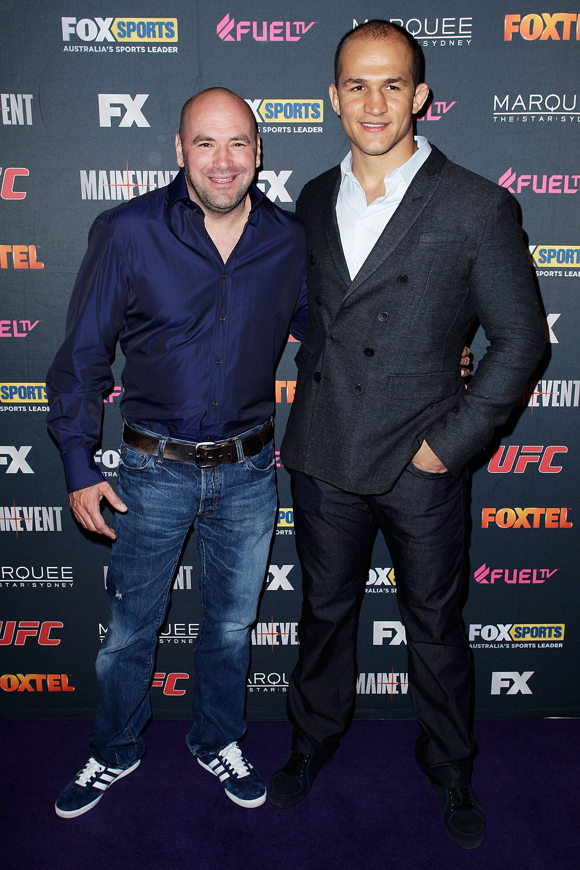 Dana White and Junior dos Santos arrive at the TUF Australia Launch Party. (Getty)