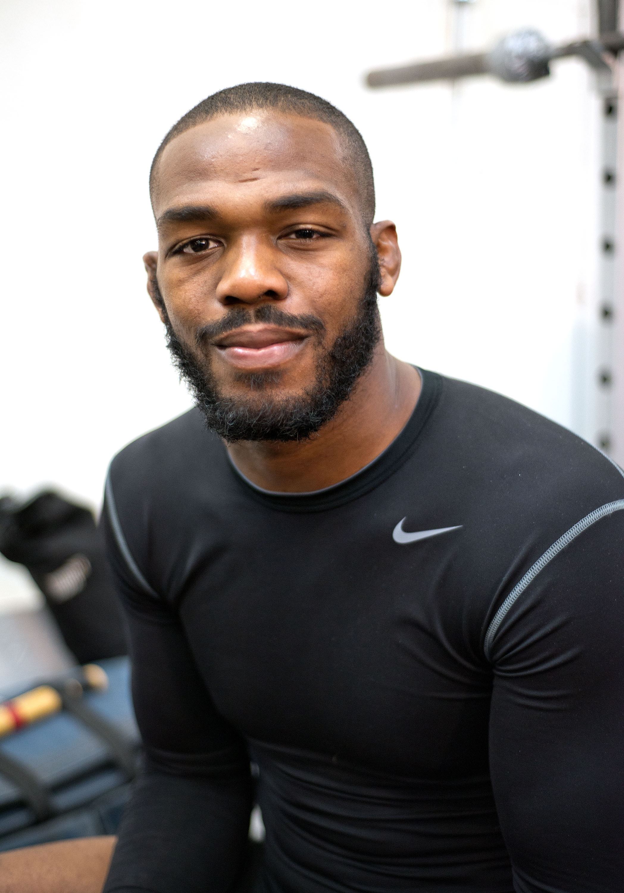 Jon Jones poses during a media event. (Getty)