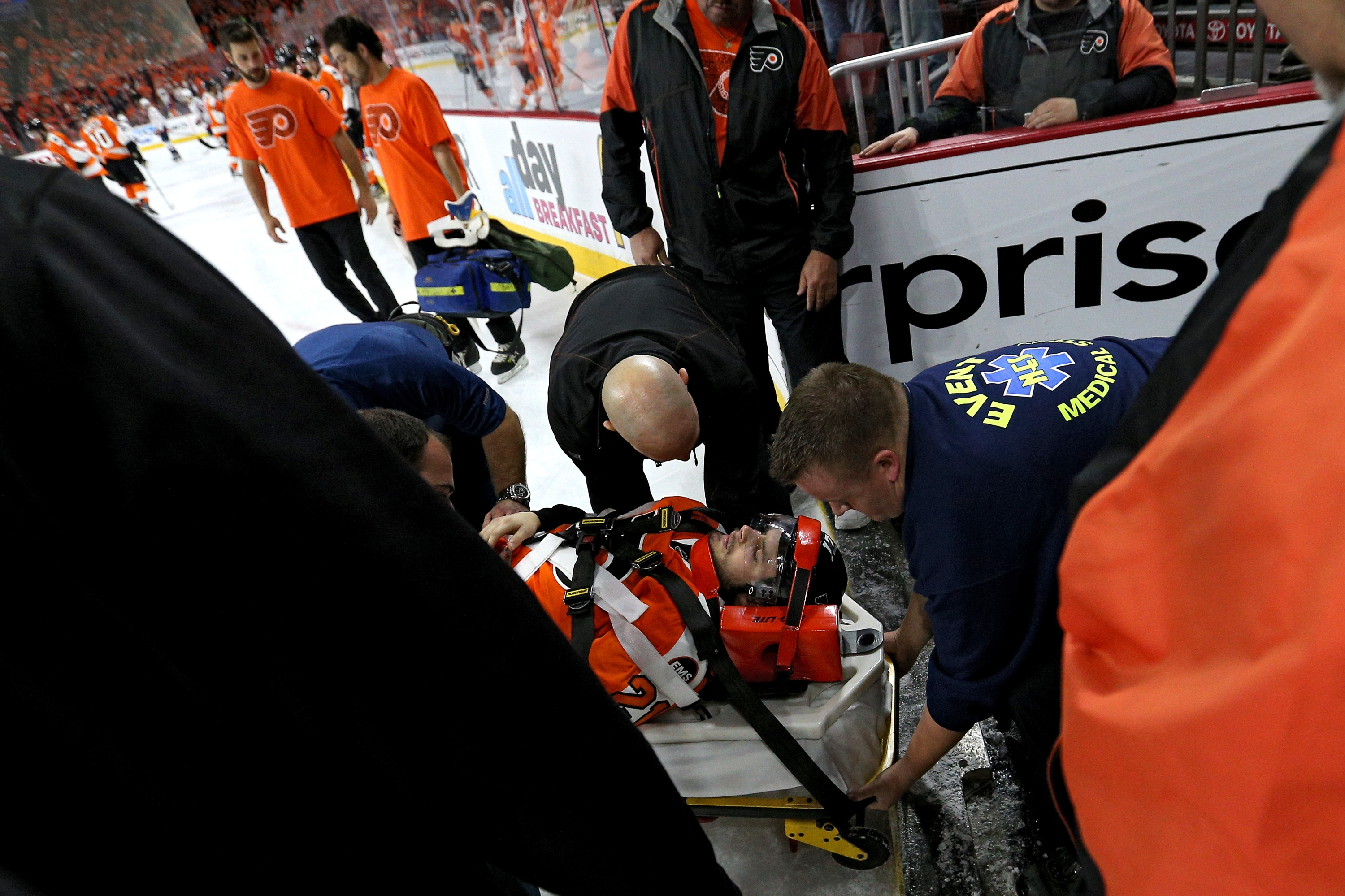 Flyers' Laughton Leaves On Stretcher; Staying At Hospital Overnight (Update)