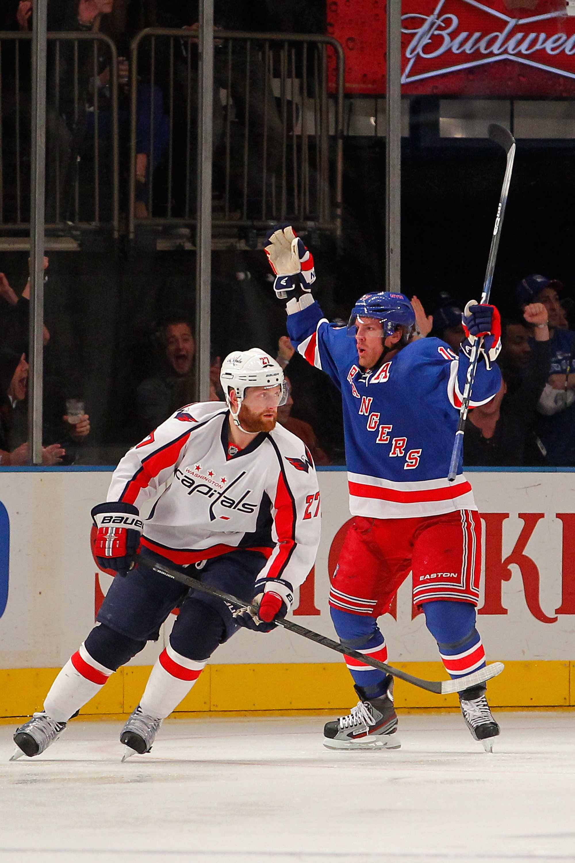 Brad Richards celebrates after scoring his first-period goal Saturday. (Getty)