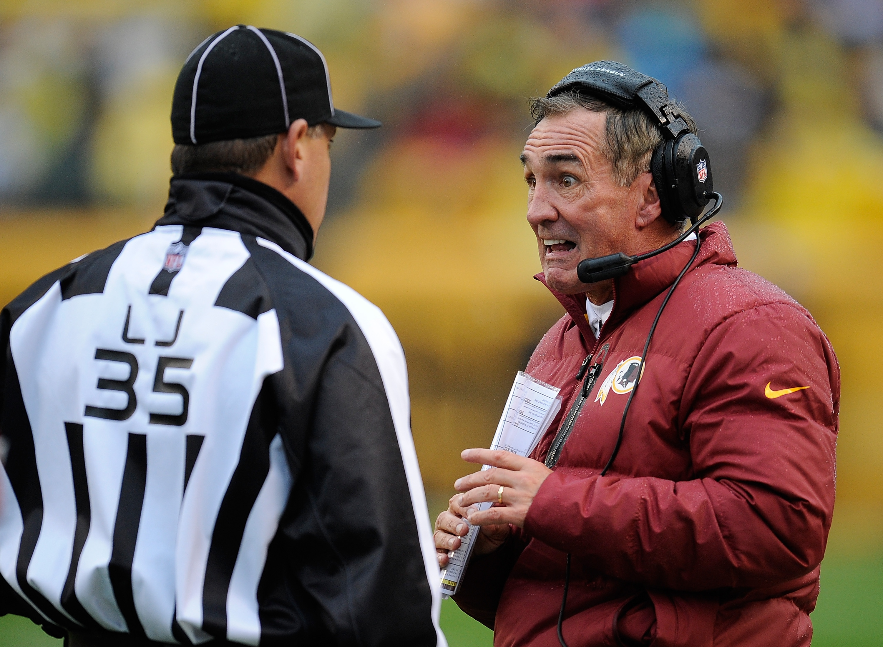 Mike Shanahan hasn't had much reason to smile during the Redskins' 3-6 season. (Getty Images)