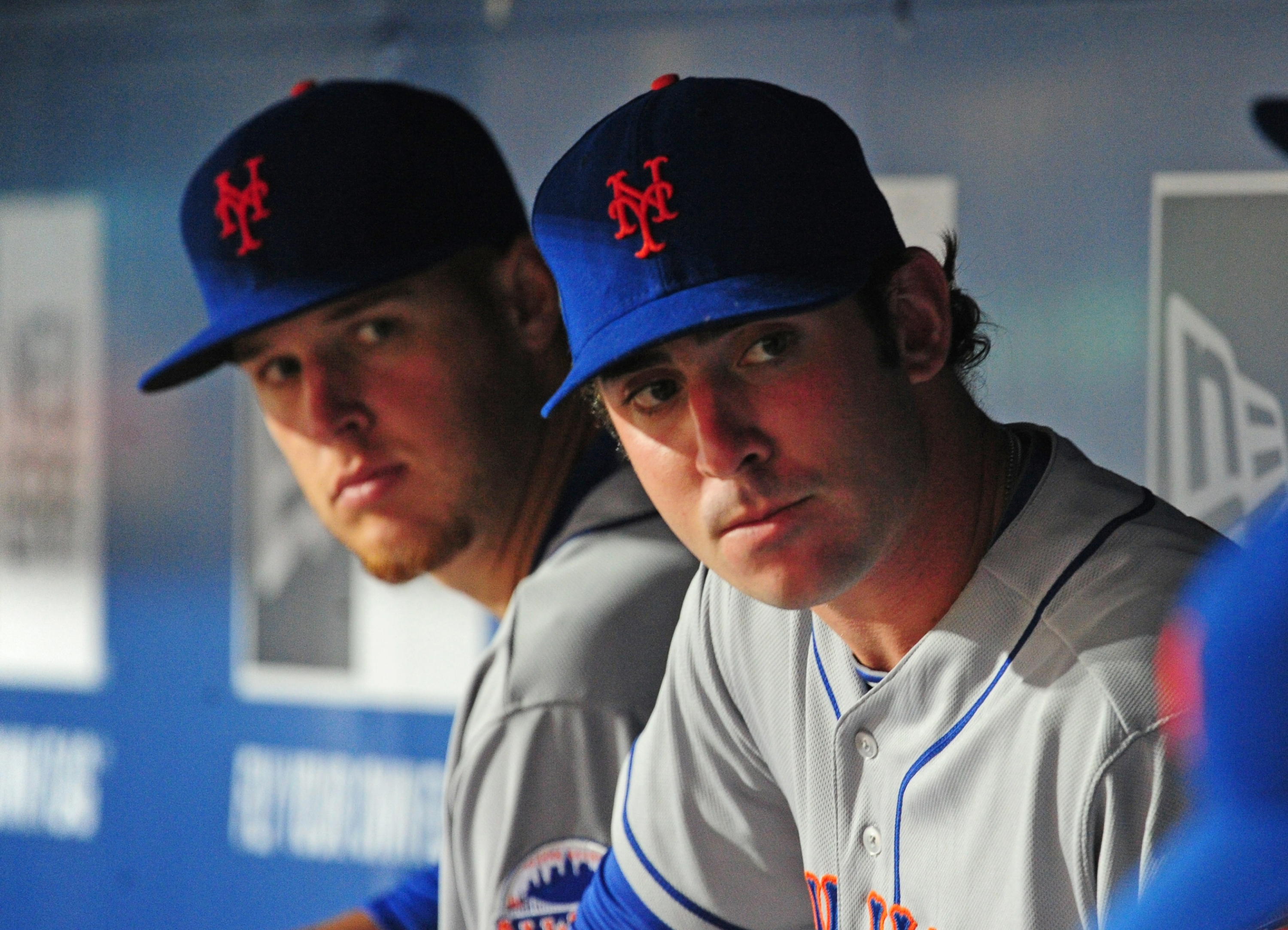Zack Wheeler Matt Harvey relax in the dugout during game two of a doubleheader against the Atlanta Braves. (Getty)