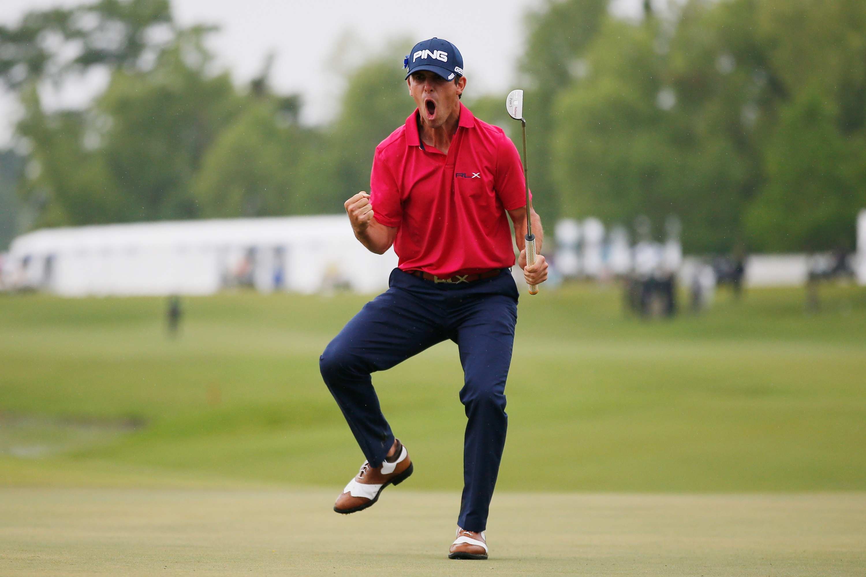 Billy Horschel reacts after making a putt for birdie on the 18th hole Sunday. (Getty)