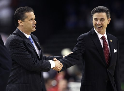 Rick Pitino (L) shakes hands with Kentucky's John Calipari before the school's Final Four meeting in March. (AP)