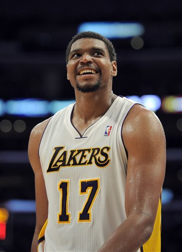 Andrew Bynum tied an NBA playoff record with 10 blocks against the Nuggets. (AP)