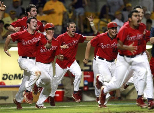Stony Brook celebrates after securing a bid to the College World Series. (AP)