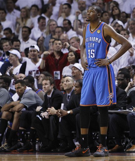 Kevin Durant averaged 30.6 points for the Thunder in the five games of the NBA Finals. (AP)