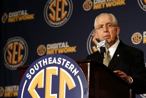 SEC Commissioner Mike Slive speaks to the media. (AP)