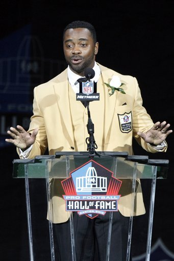 Curtis Martin gestures during his induction speech Saturday. (AP)