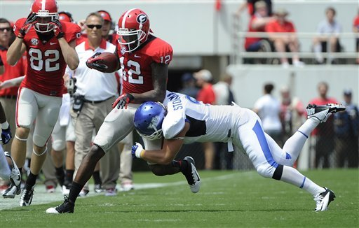 Gurley's 3 TDs lead No. 6 Dogs past Buffalo, 45-23